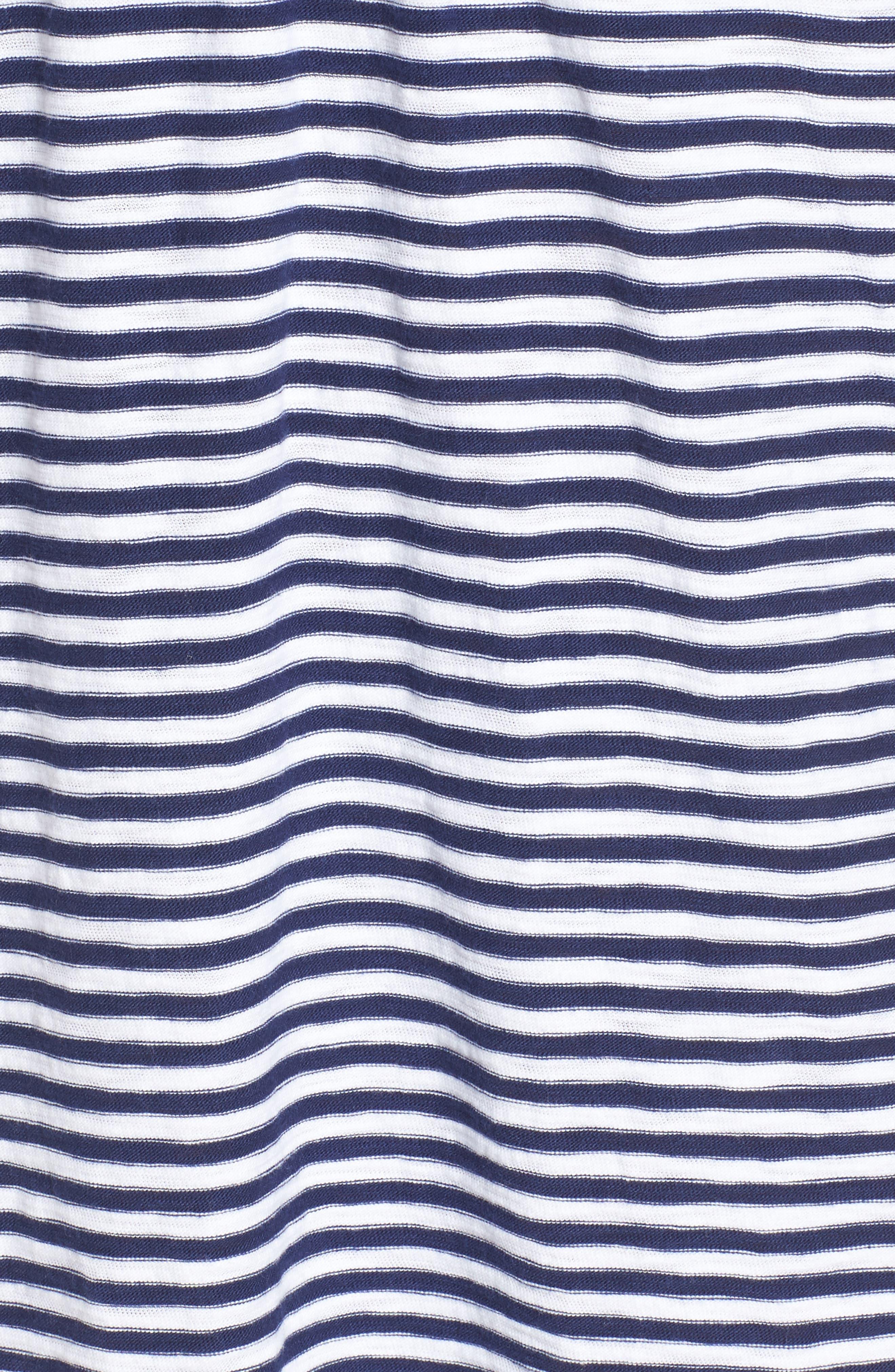 Stripe V-Neck Shirtdress,                             Alternate thumbnail 5, color,                             Deep Bay
