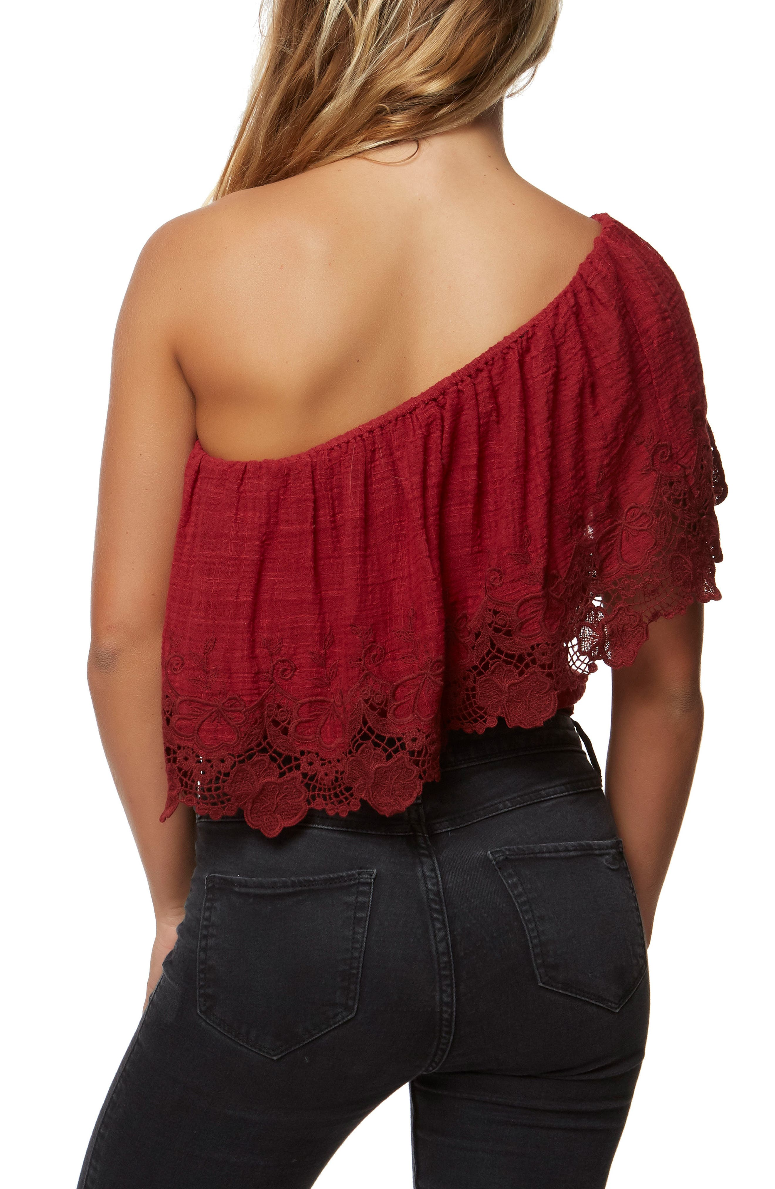 Sabrina Ruffle One-Shoulder Top,                             Alternate thumbnail 2, color,                             Ruby