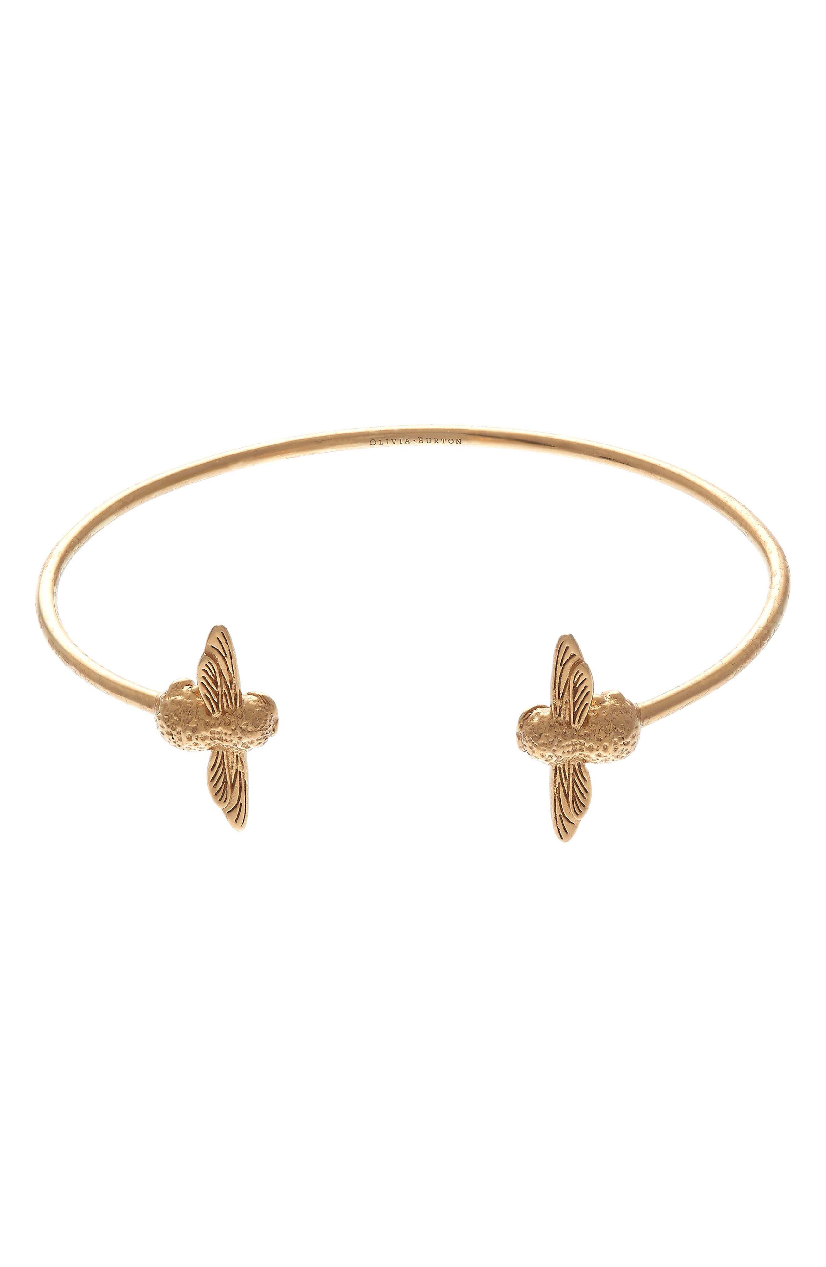 3D Bee Open Bangle Bracelet,                         Main,                         color, Gold