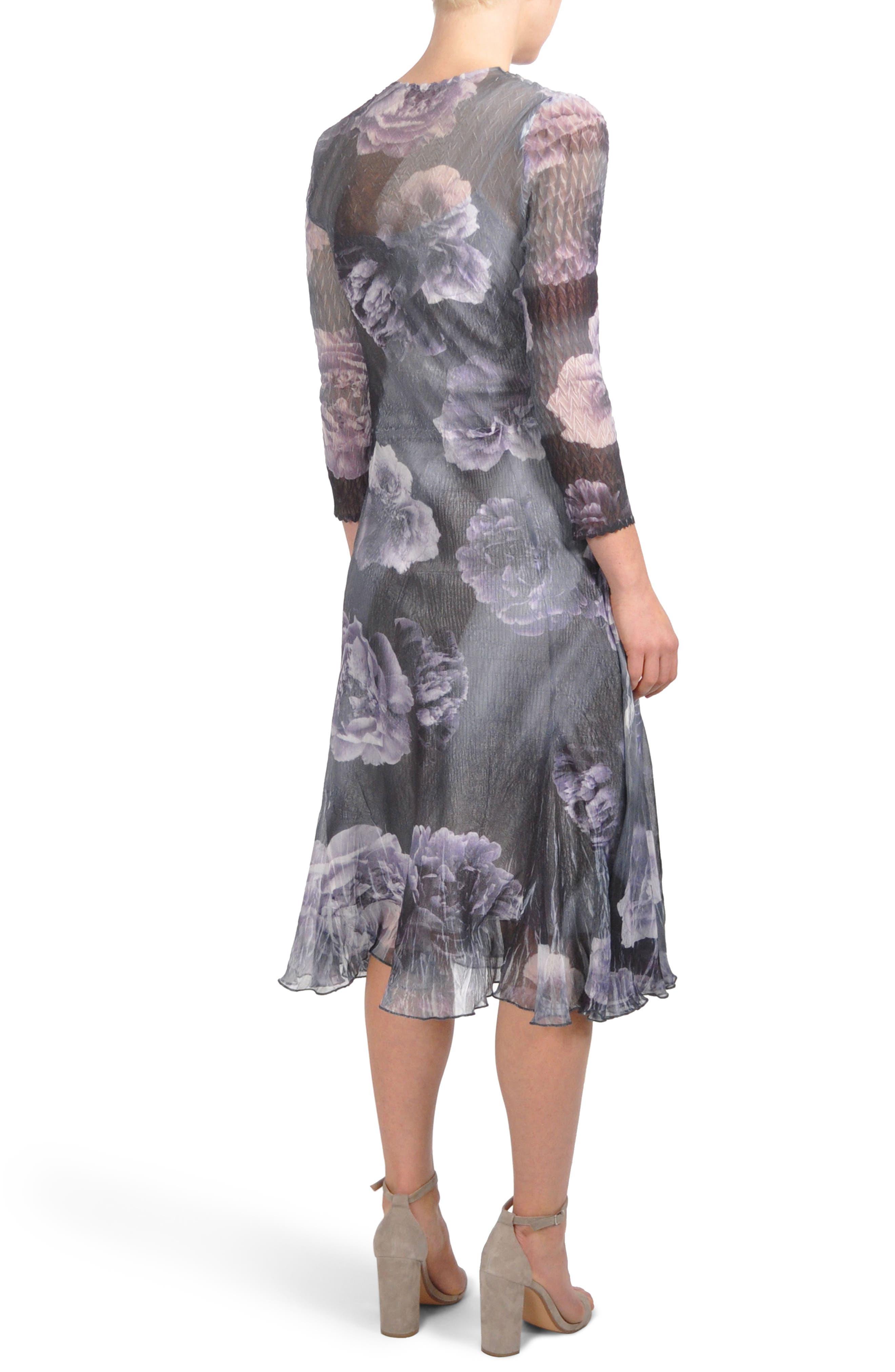 Print Chiffon A-Line Midi Dress,                             Alternate thumbnail 2, color,                             Violetta