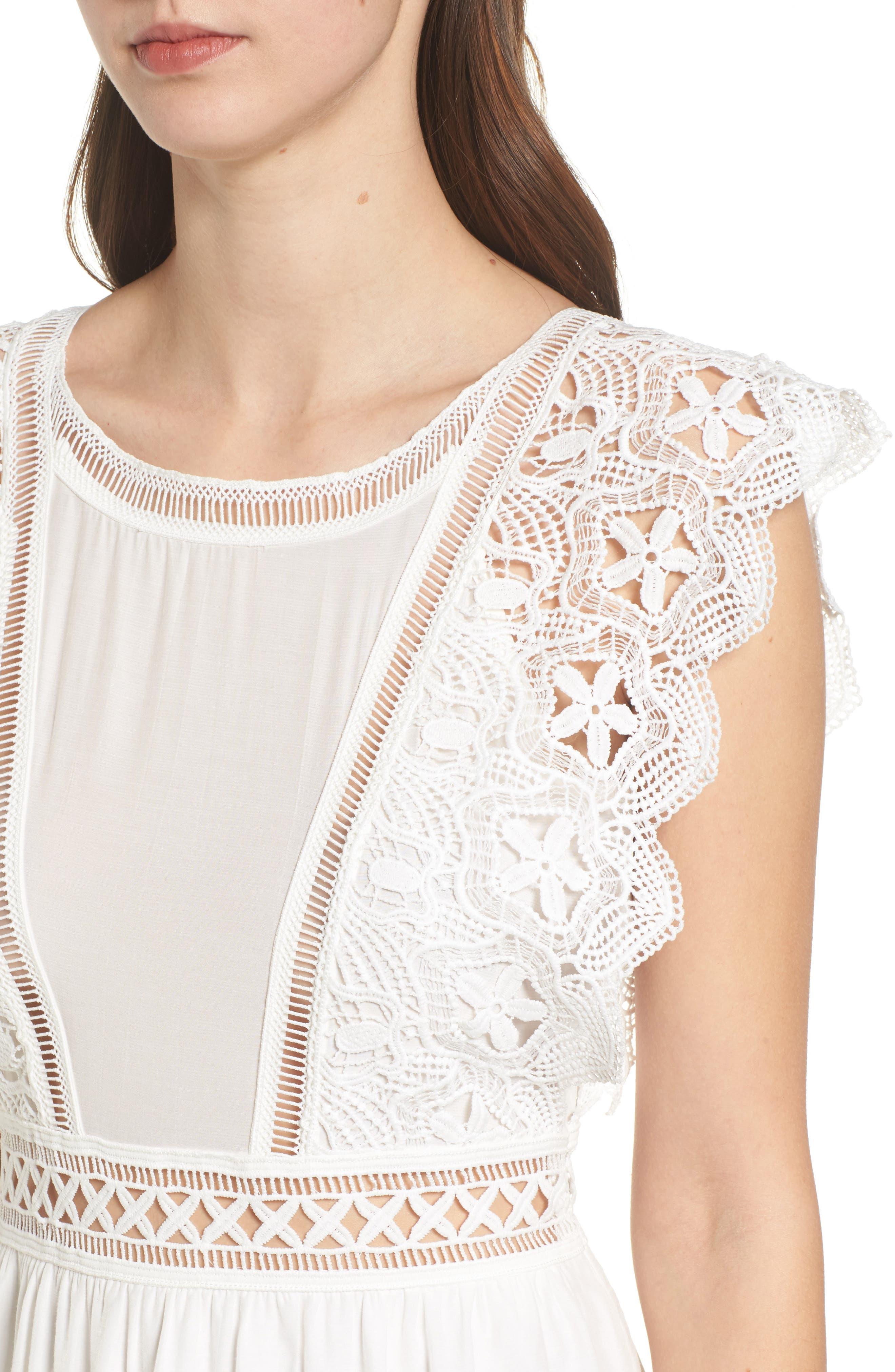 Lace Trim Babydoll Dress,                             Alternate thumbnail 4, color,                             White