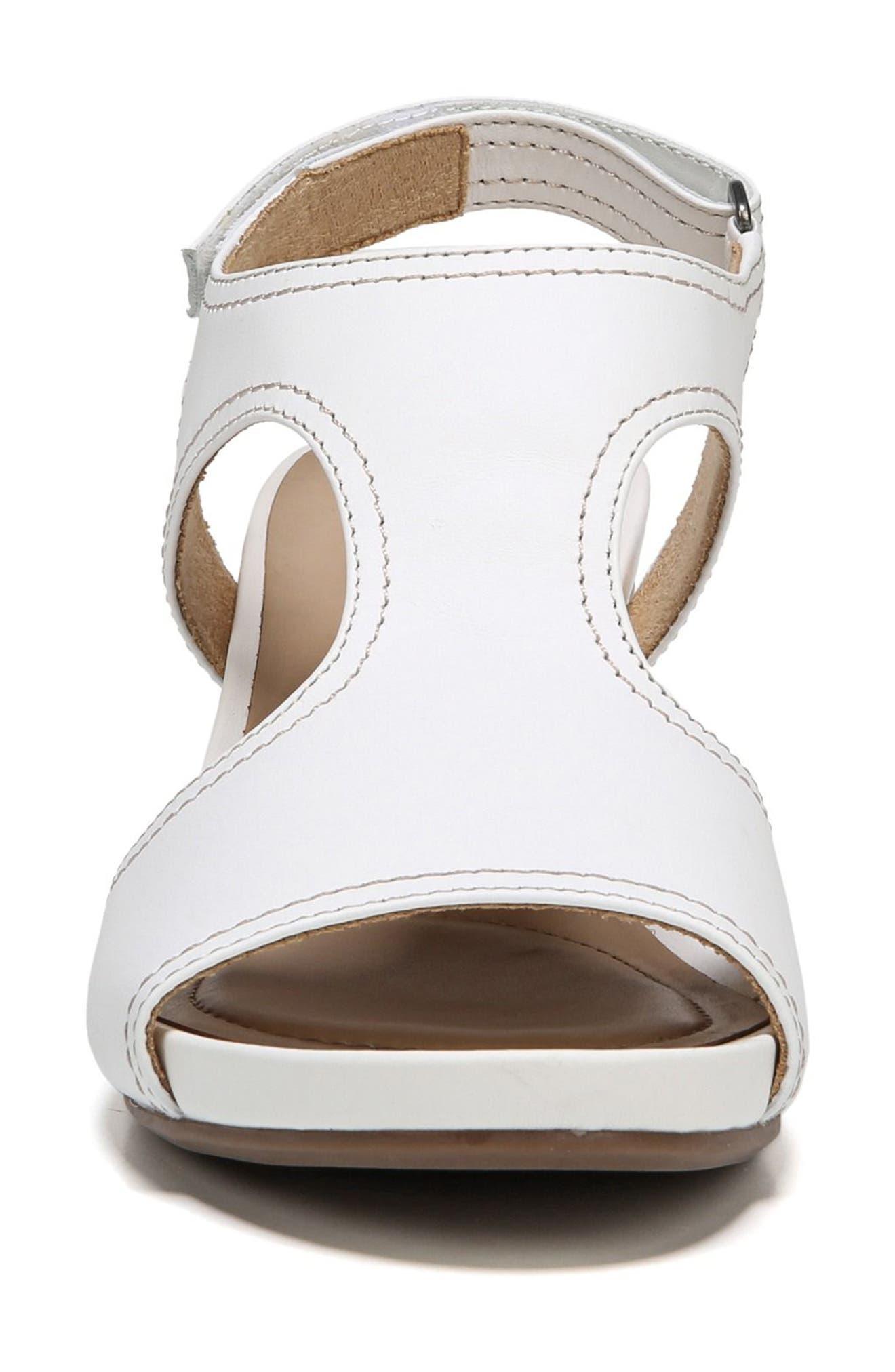 Cinda Wedge Sandal,                             Alternate thumbnail 4, color,                             White Leather