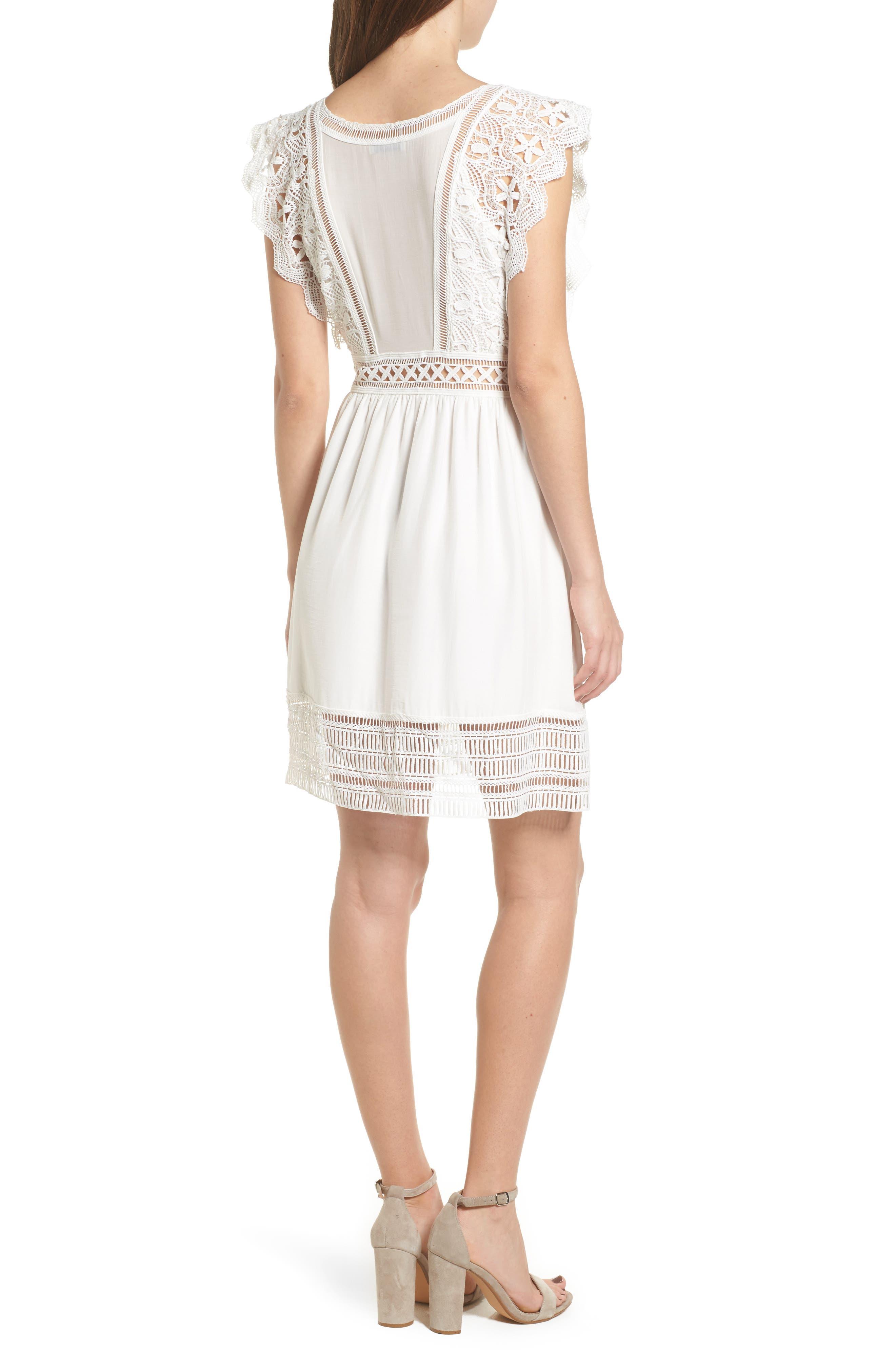 Lace Trim Babydoll Dress,                             Alternate thumbnail 2, color,                             White