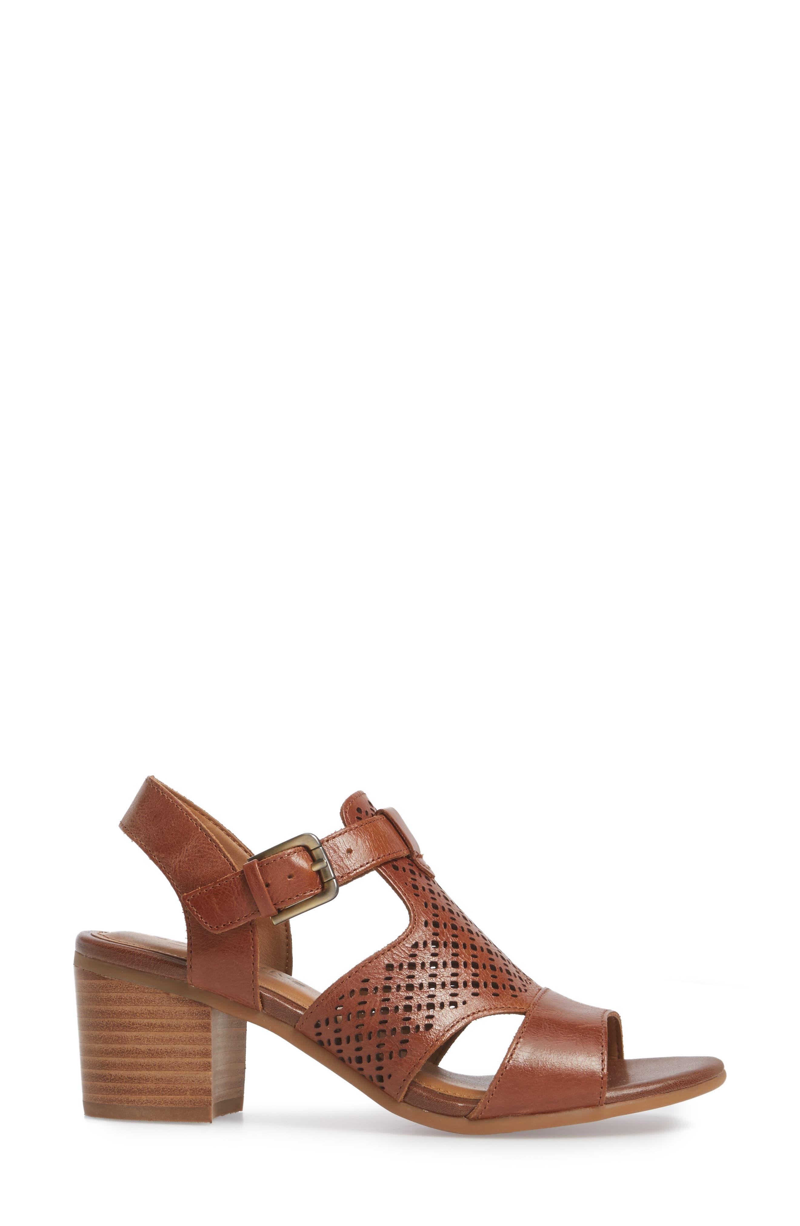 Amber Perforated Block Heel Sandal,                             Alternate thumbnail 3, color,                             Luggage Leather