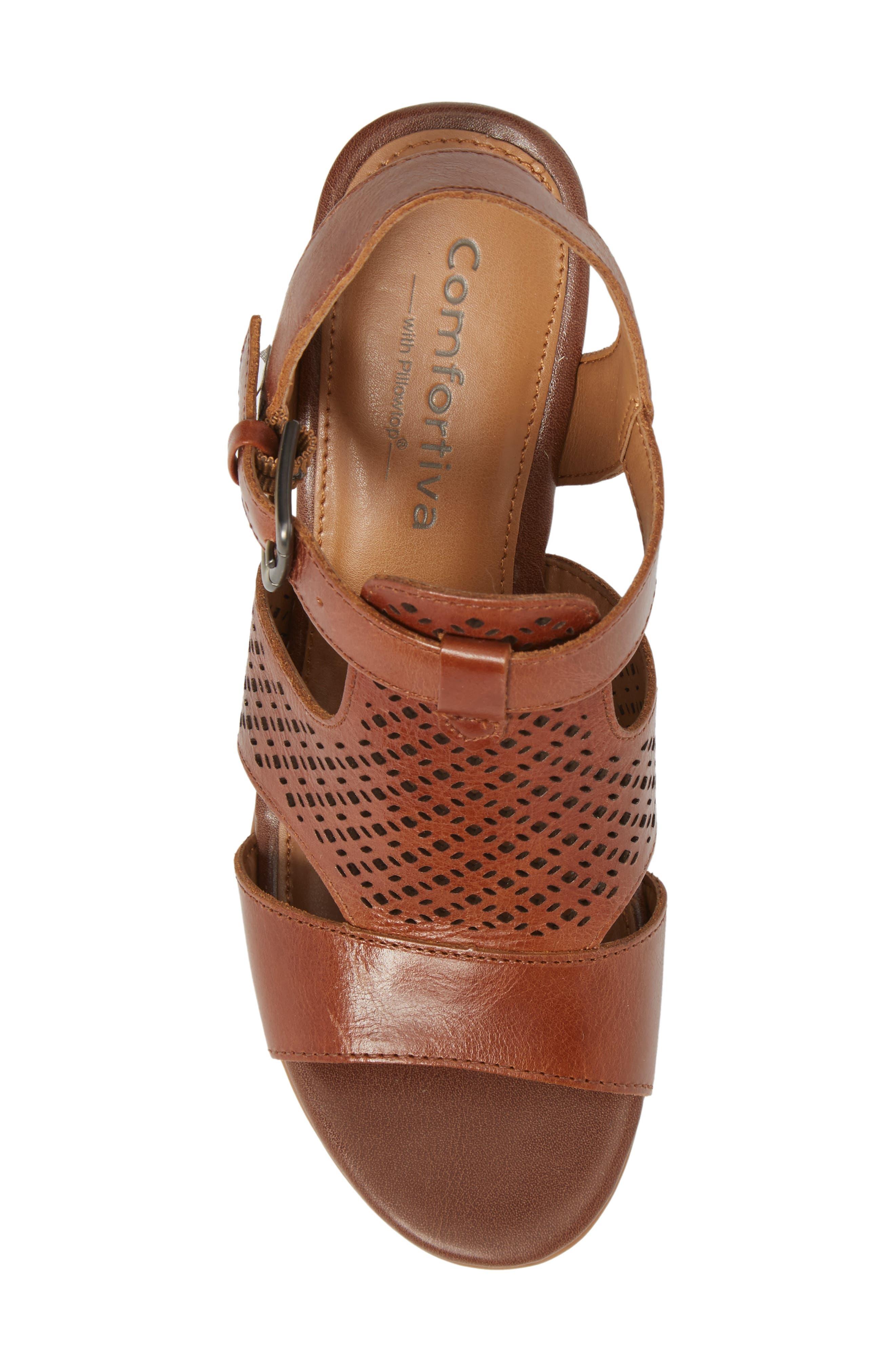 Amber Perforated Block Heel Sandal,                             Alternate thumbnail 5, color,                             Luggage Leather