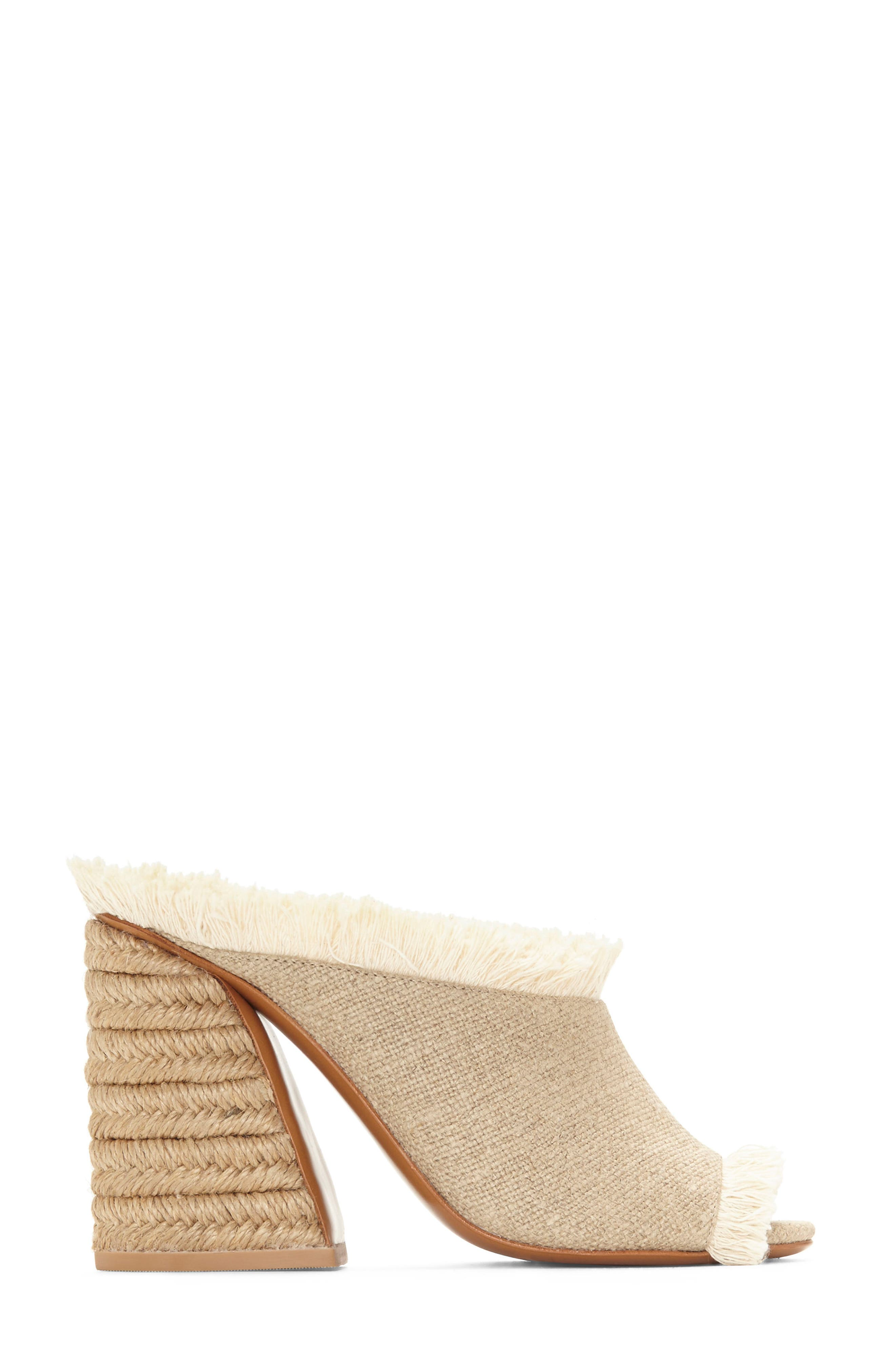 Izar Fringe Asymmetrical Sandal,                             Alternate thumbnail 3, color,                             Natural