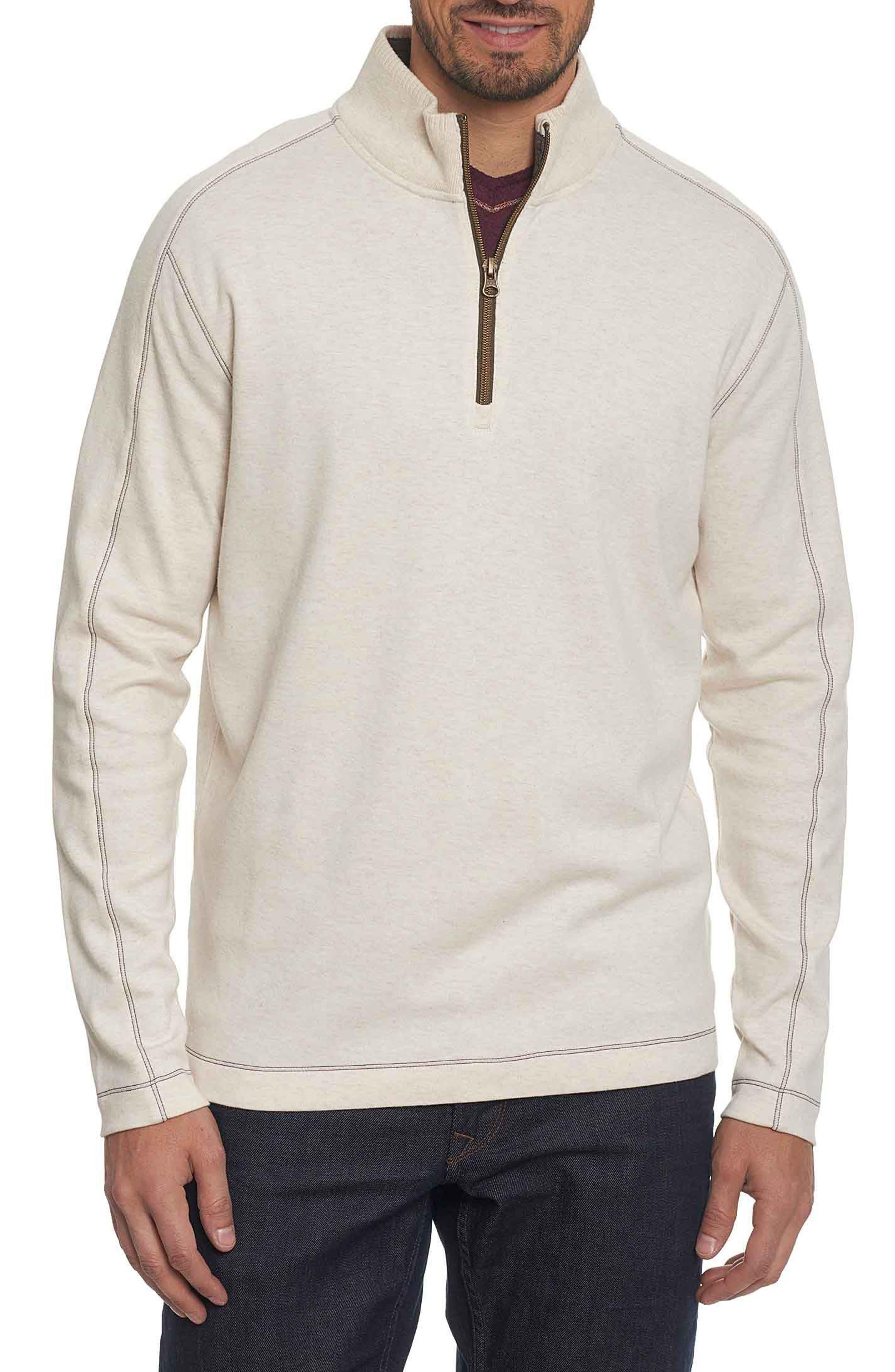'Elia' Regular Fit Quarter Zip Pullover,                         Main,                         color, Heather White