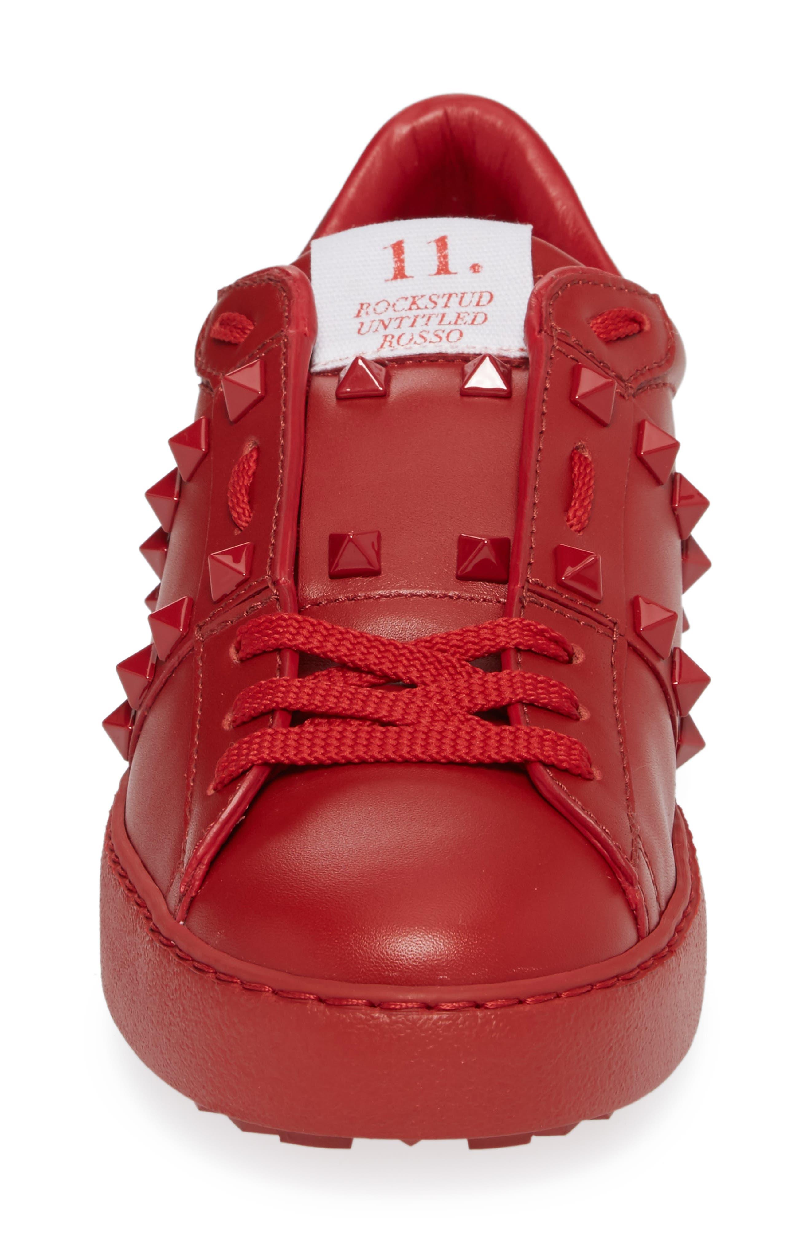 Rockstud Sneaker,                             Alternate thumbnail 4, color,                             Red