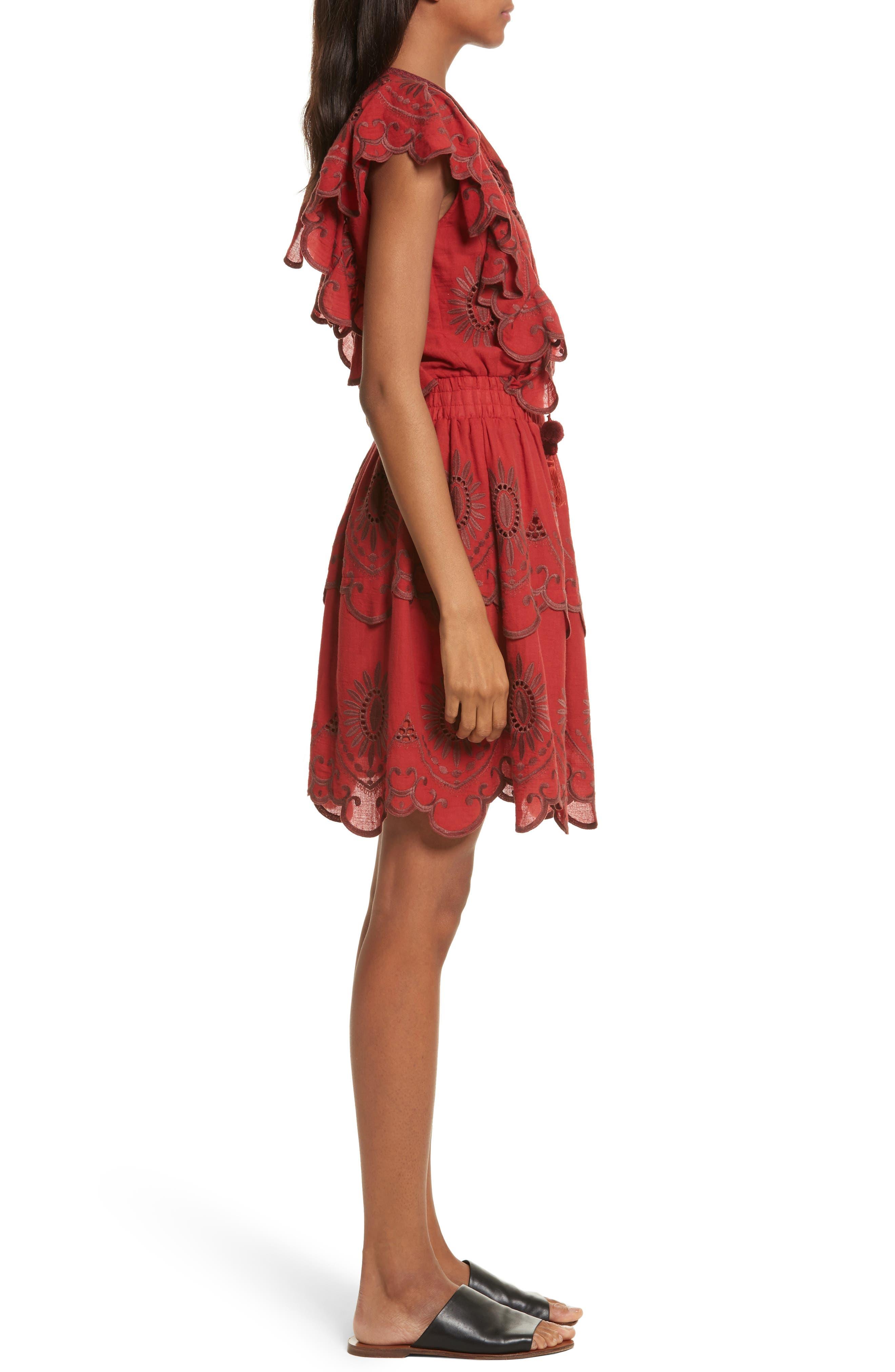 Ruffle Cotton Eyelet Dress,                             Alternate thumbnail 3, color,                             Brick/ Dark Brick