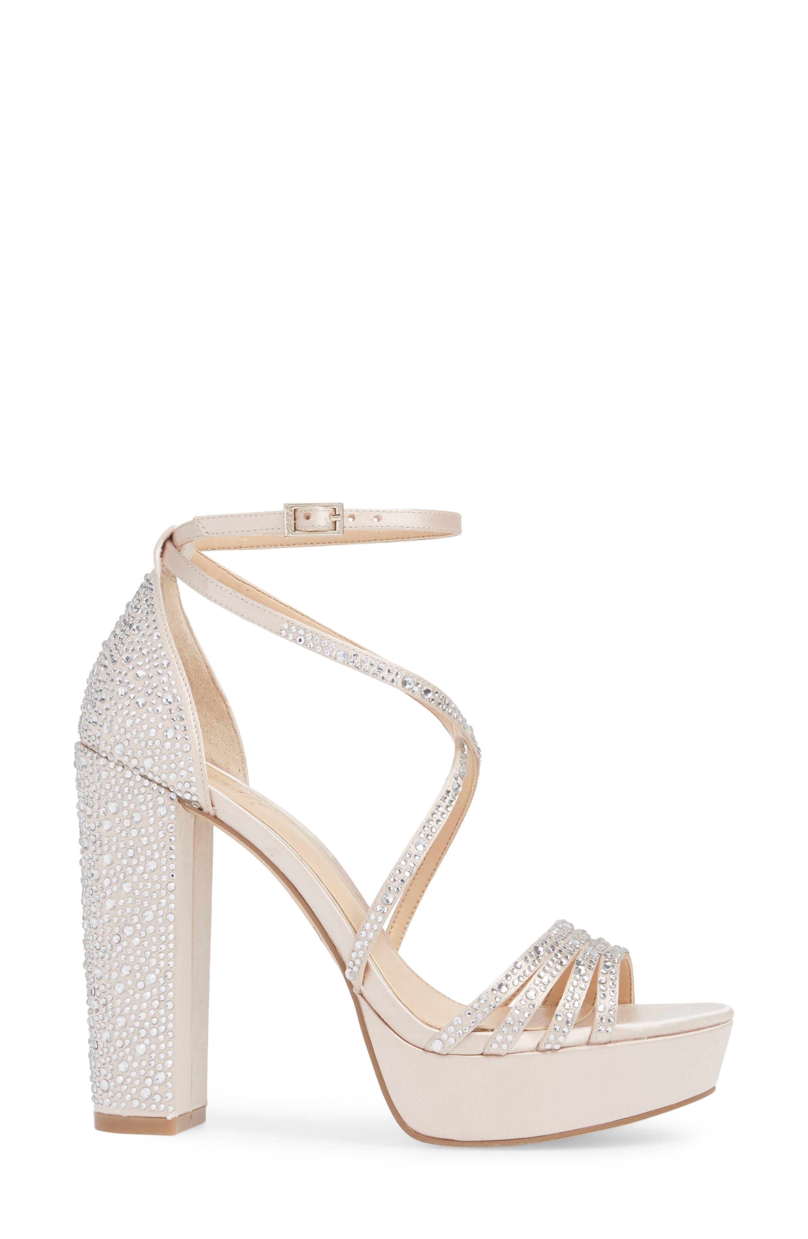 Tarah Crystal Embellished Platform Sandal,                             Alternate thumbnail 3, color,                             Champagne Satin