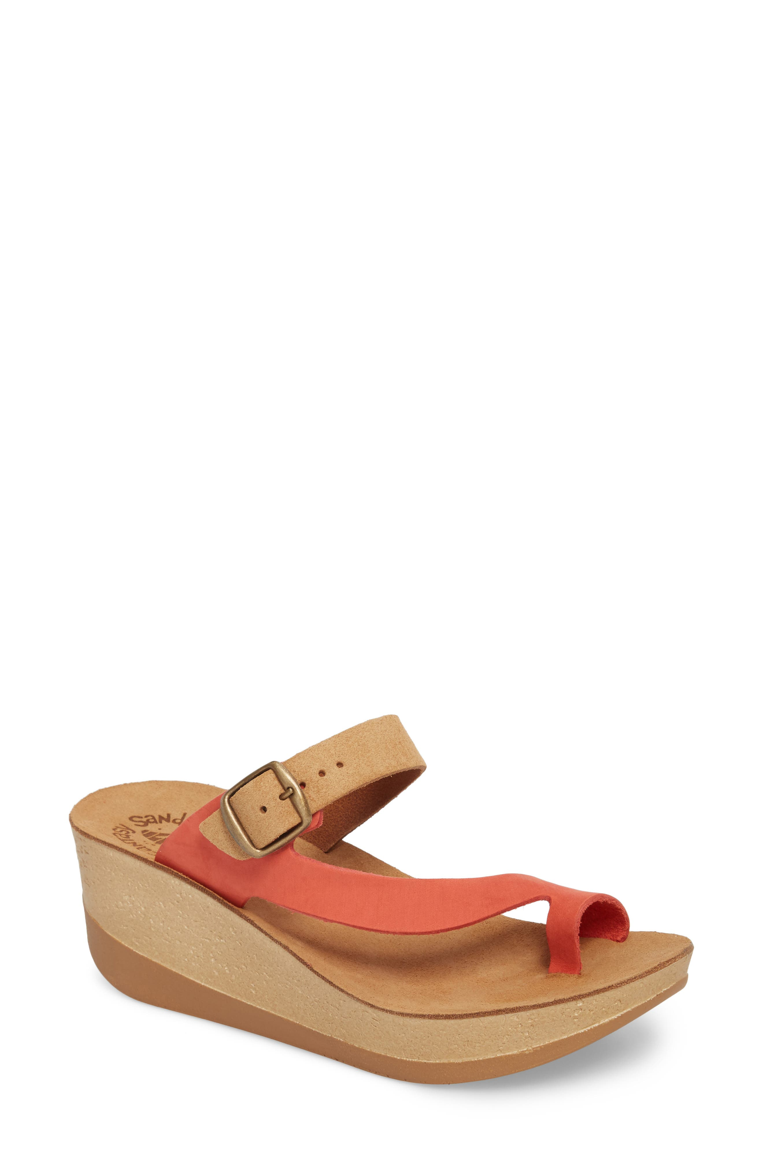 Felisa Wedge Sandal,                         Main,                         color, Cuoio Red Leather