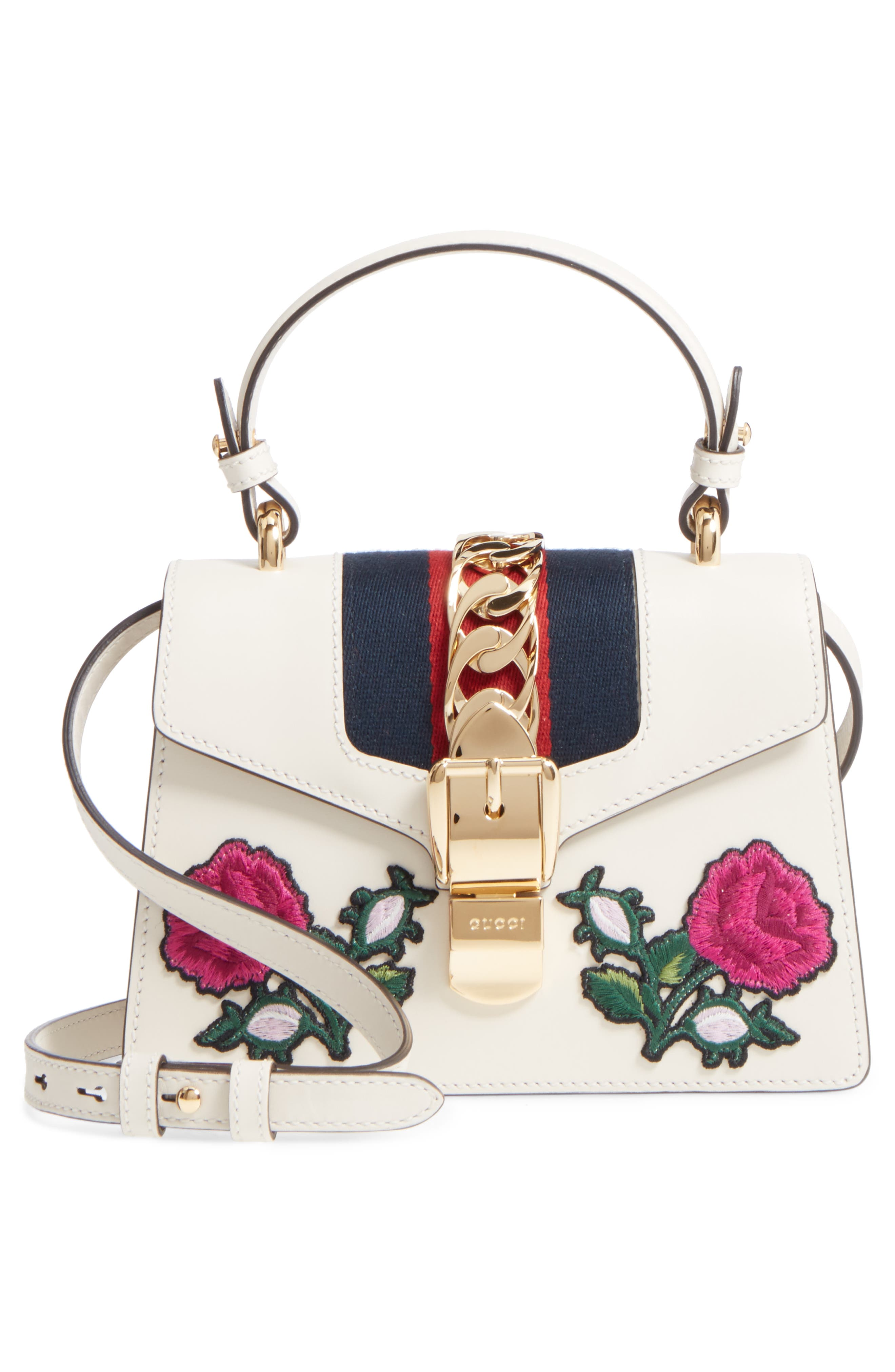Mini Sylvie Embroidered Floral Leather Shoulder Bag,                             Alternate thumbnail 6, color,                             White Multi
