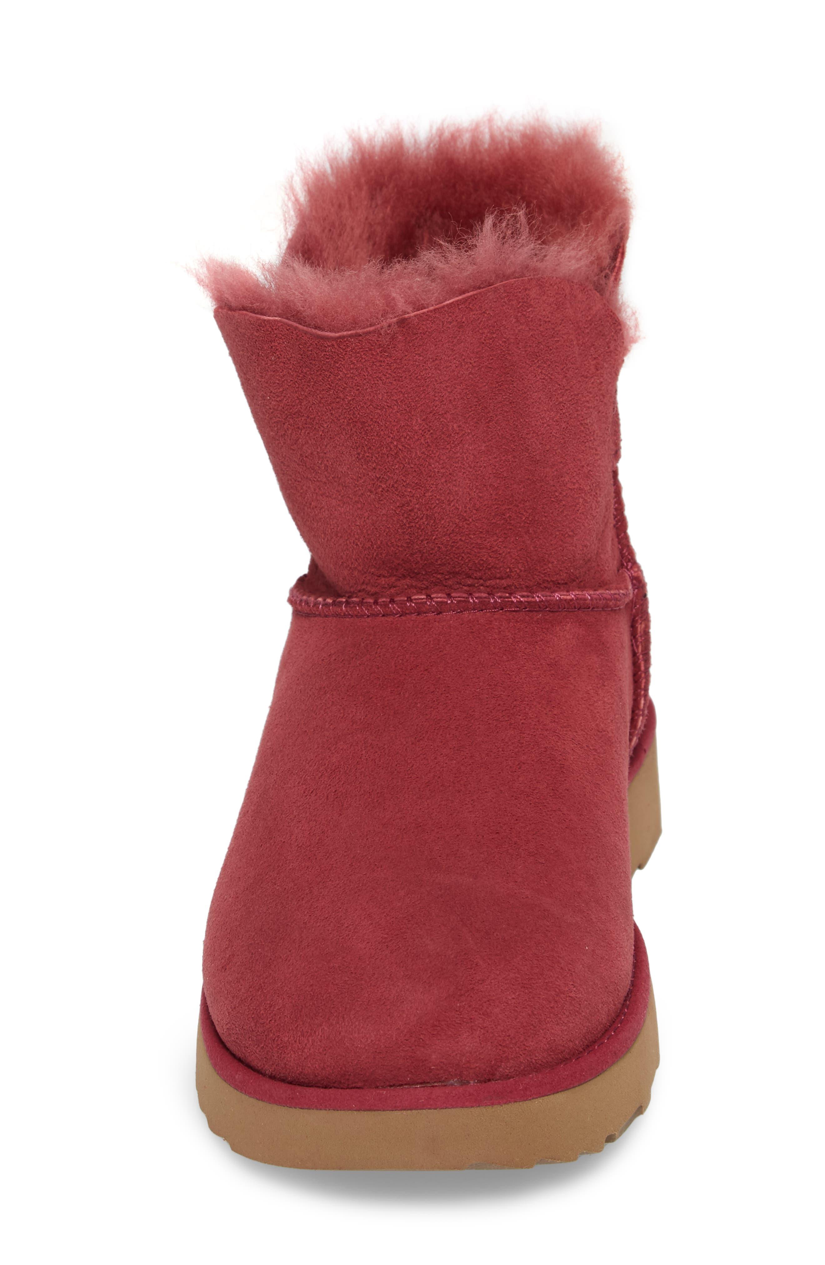 Classic Cuff Mini Boot,                             Alternate thumbnail 4, color,                             Garnet Suede