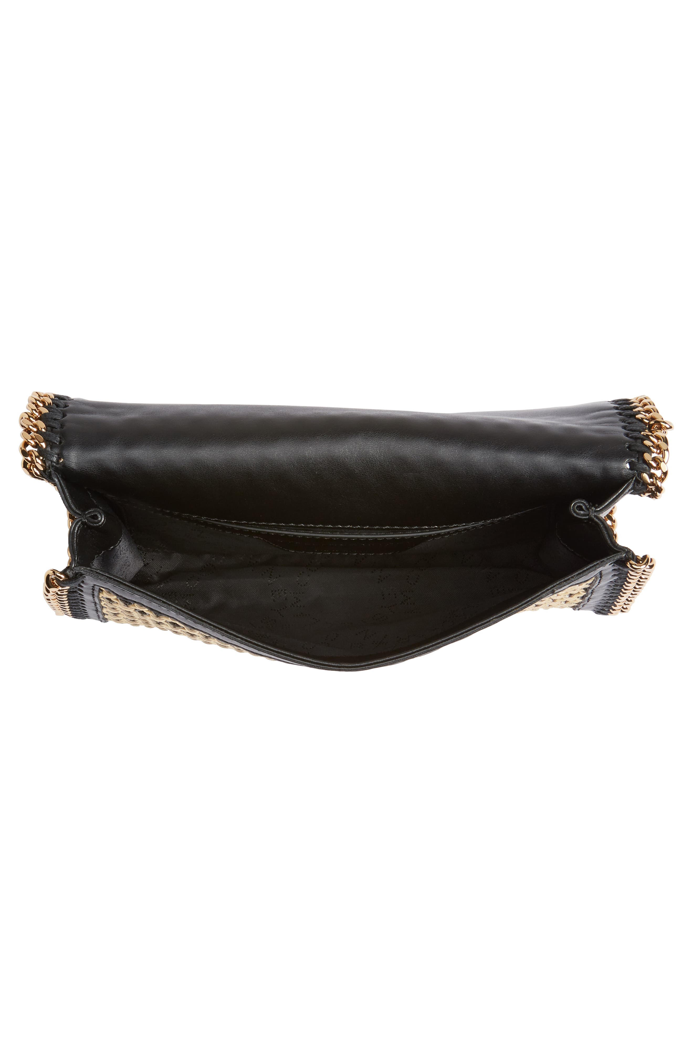 Falabella Woven Faux Leather Clutch,                             Alternate thumbnail 4, color,                             Black