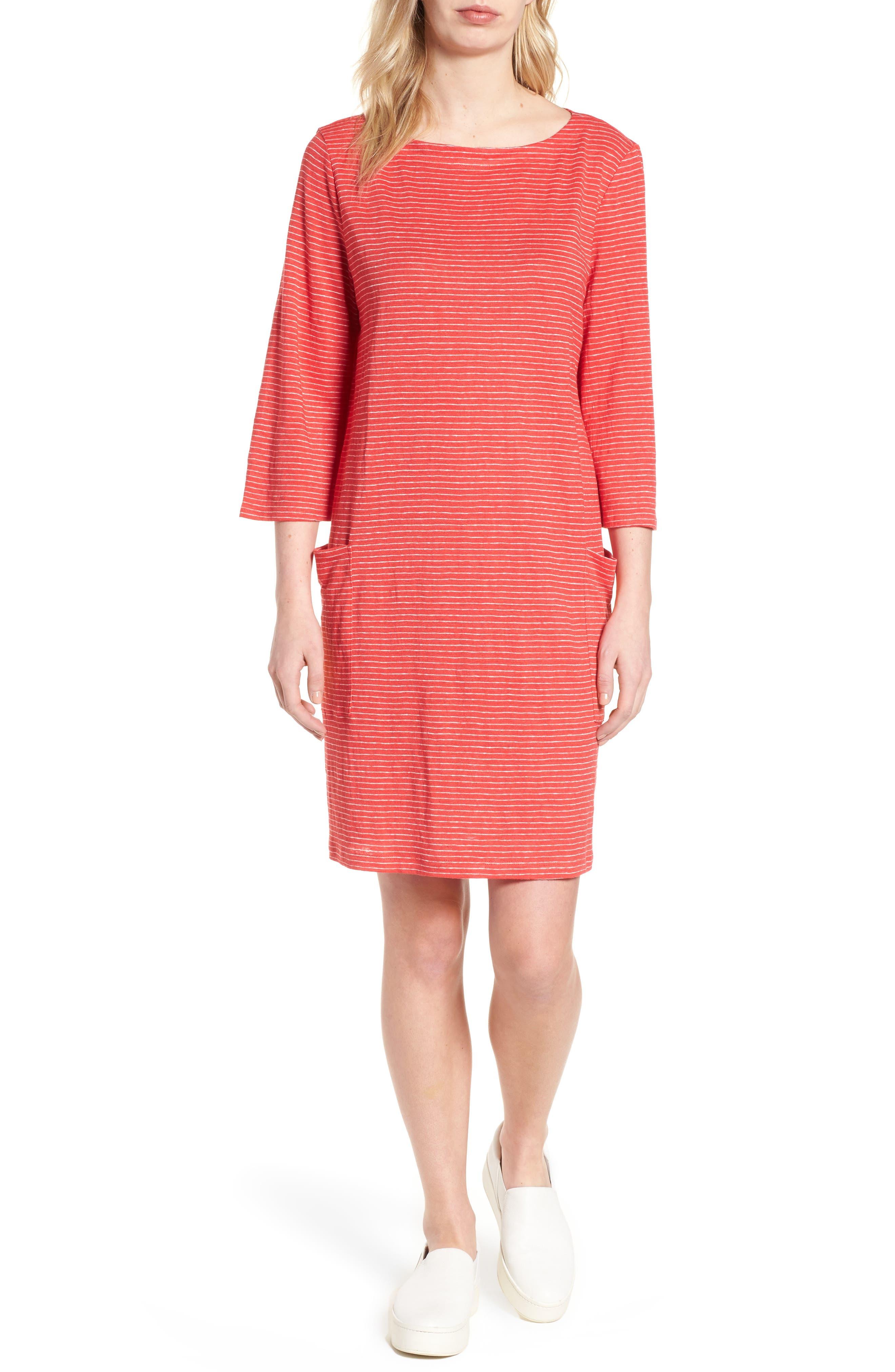 Organic Linen Shift Dress,                             Main thumbnail 1, color,                             Strawberry