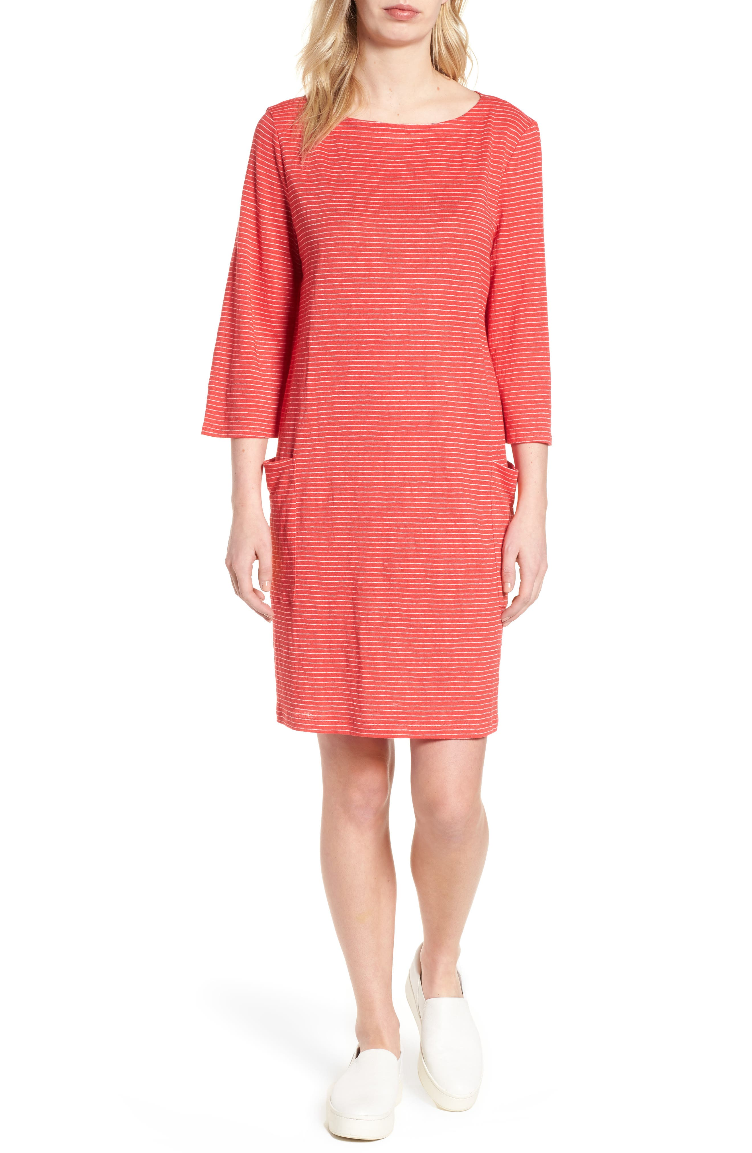Eileen Fisher Organic Linen Shift Dress (Regular & Petite)