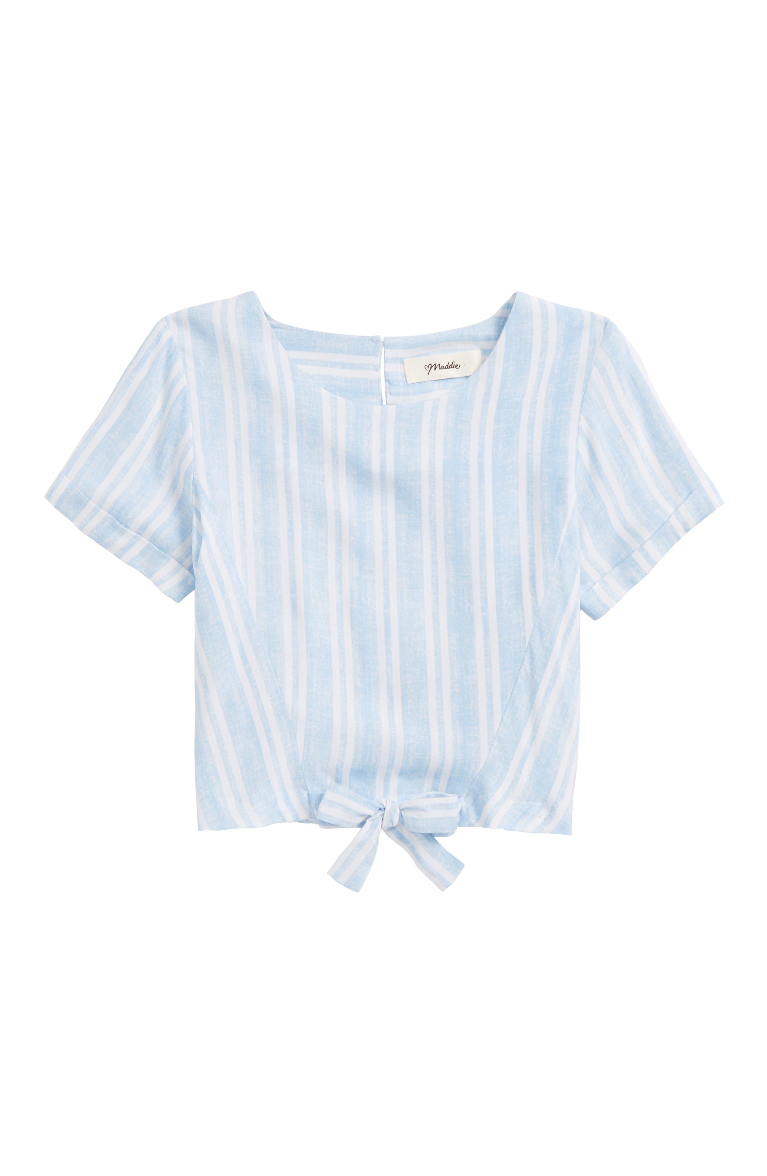 Tie Front Shirt,                             Main thumbnail 1, color,                             Light Blue/ White