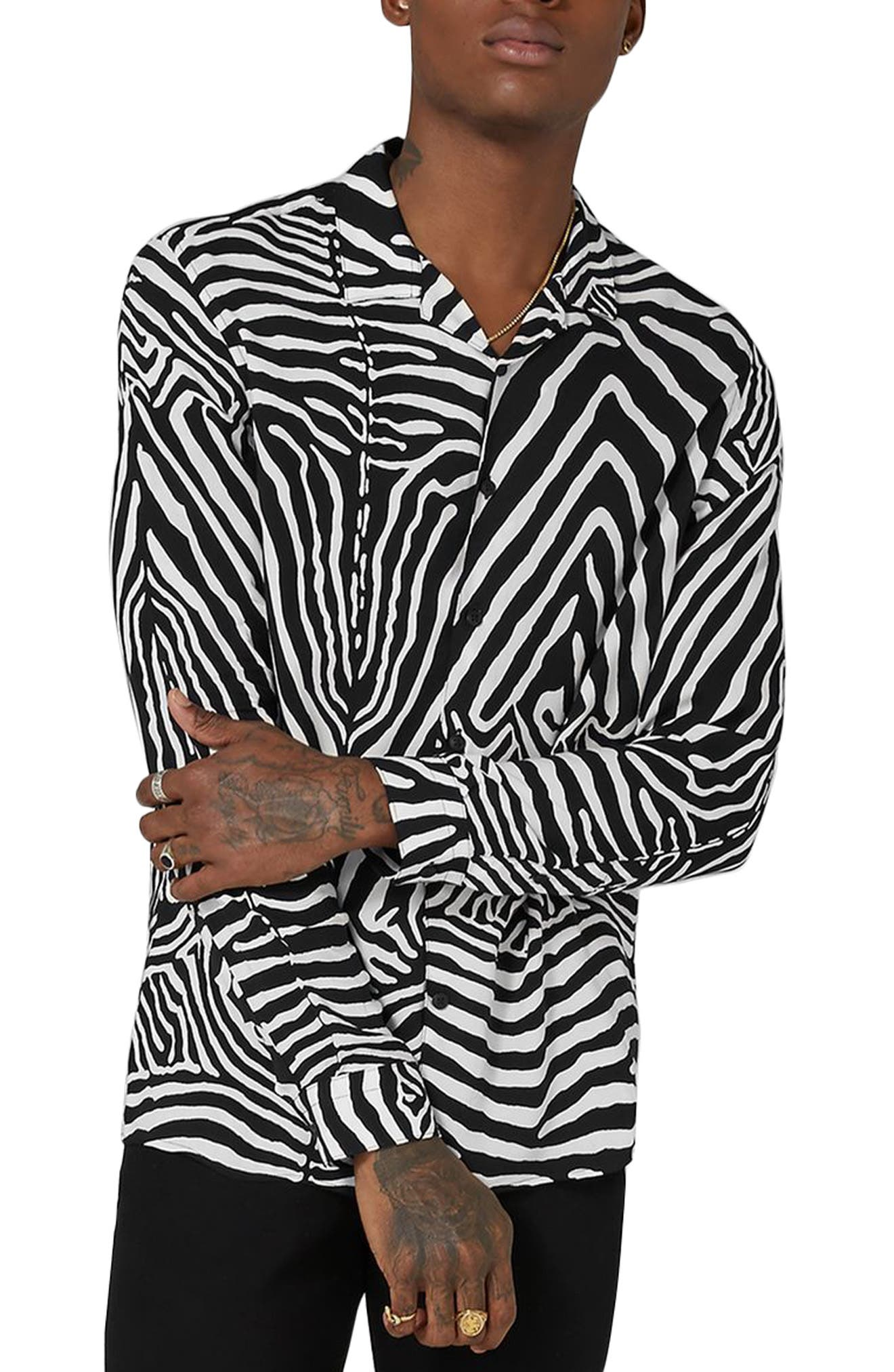 Classic Fit Zebra Print Revere Shirt,                         Main,                         color, Black Multi