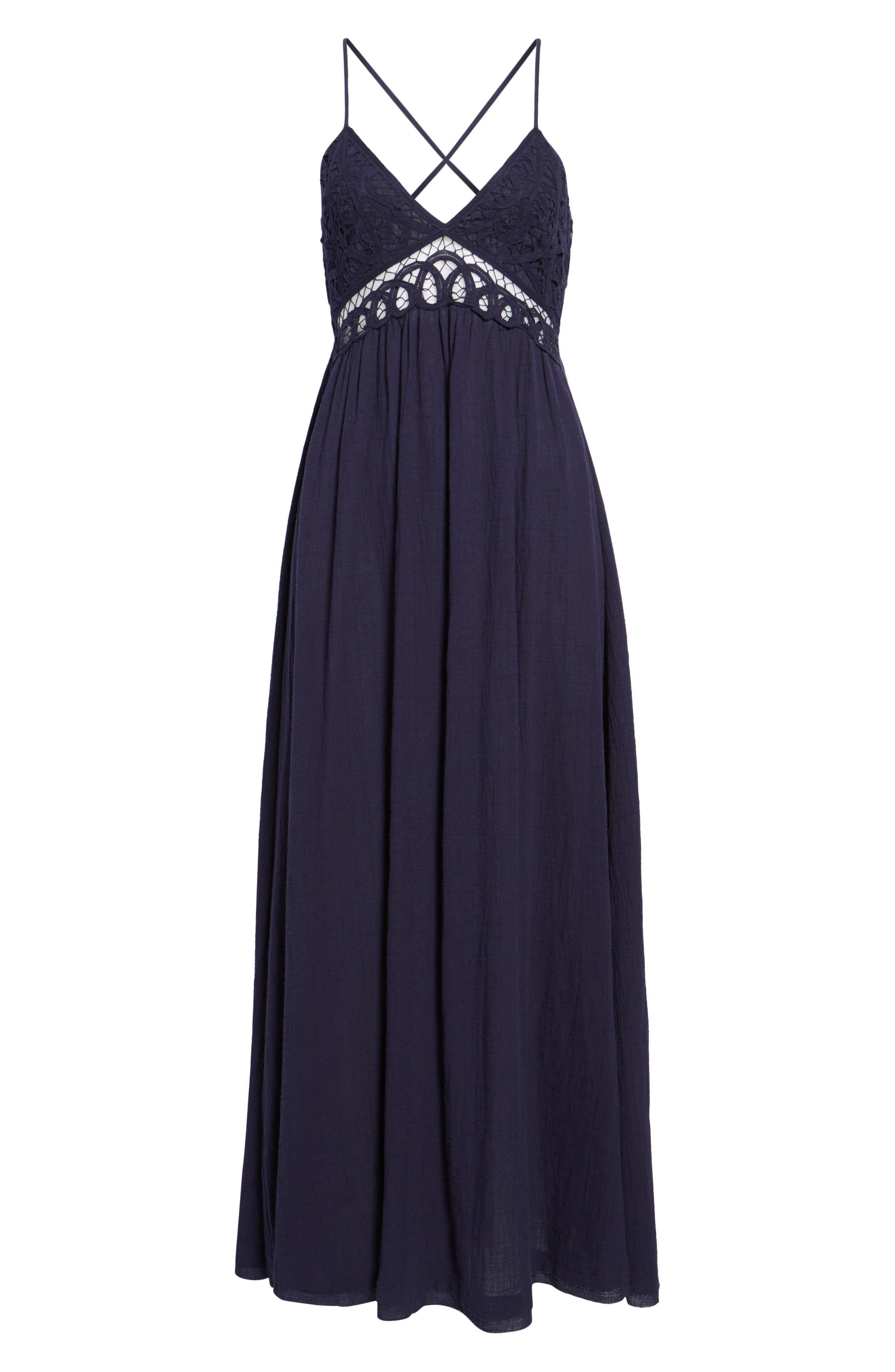 Lace Inset Empire Waist Maxi Dress,                             Alternate thumbnail 7, color,                             Navy