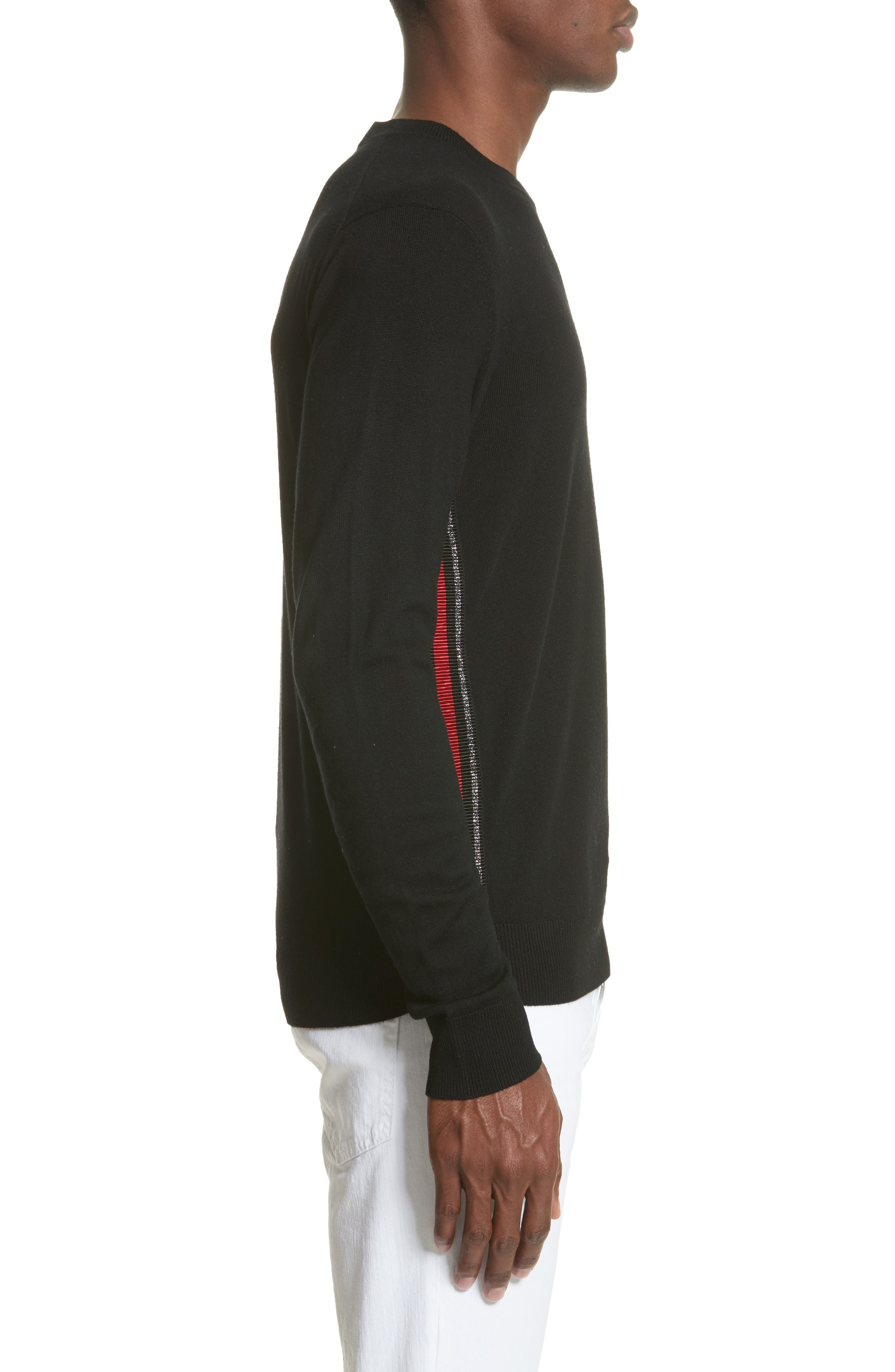 Wool Sweater with Side Zip Ribbon,                             Alternate thumbnail 3, color,                             Black