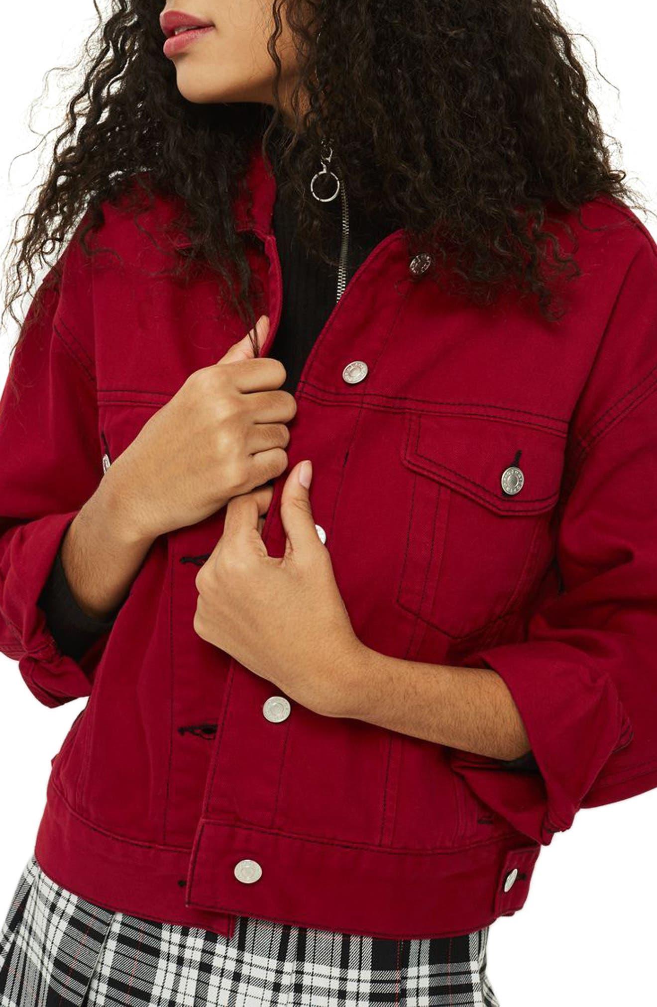 Boxy Denim Jacket,                             Main thumbnail 1, color,                             Red