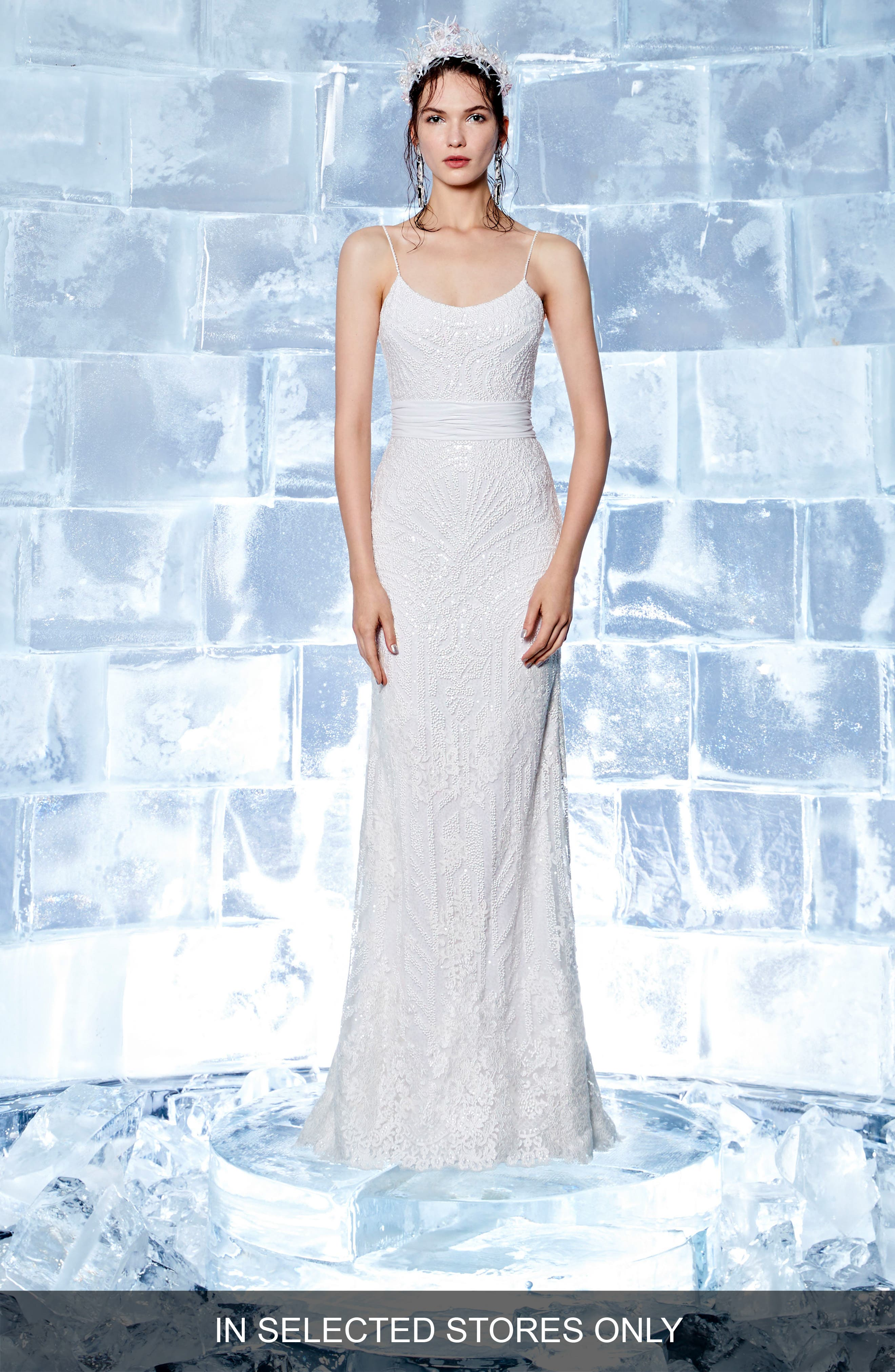 Iclyn Beaded Slipgown,                         Main,                         color, Off White