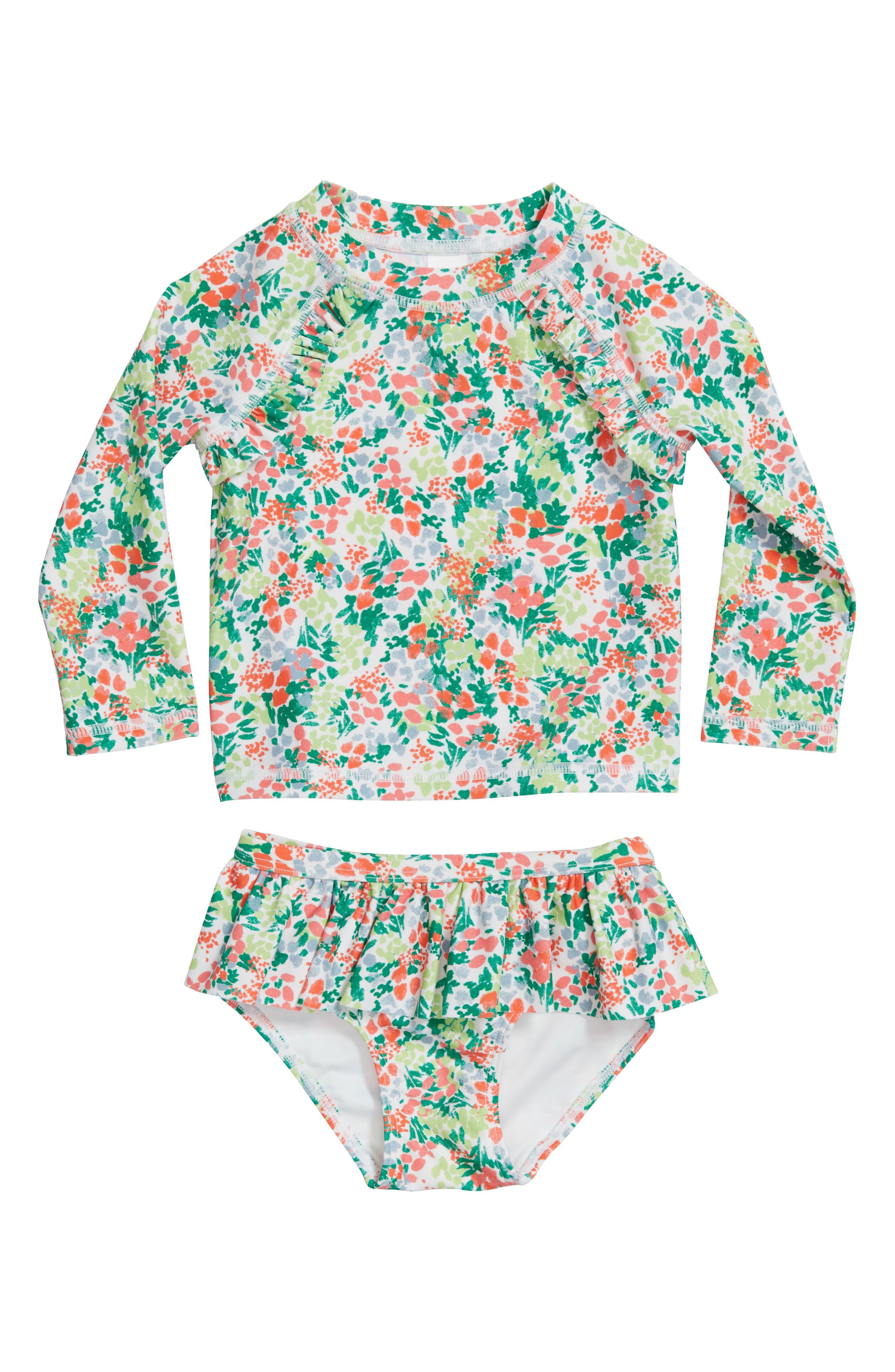 Two-Piece Rashguard Swimsuit,                             Main thumbnail 1, color,                             White Multi Meadow