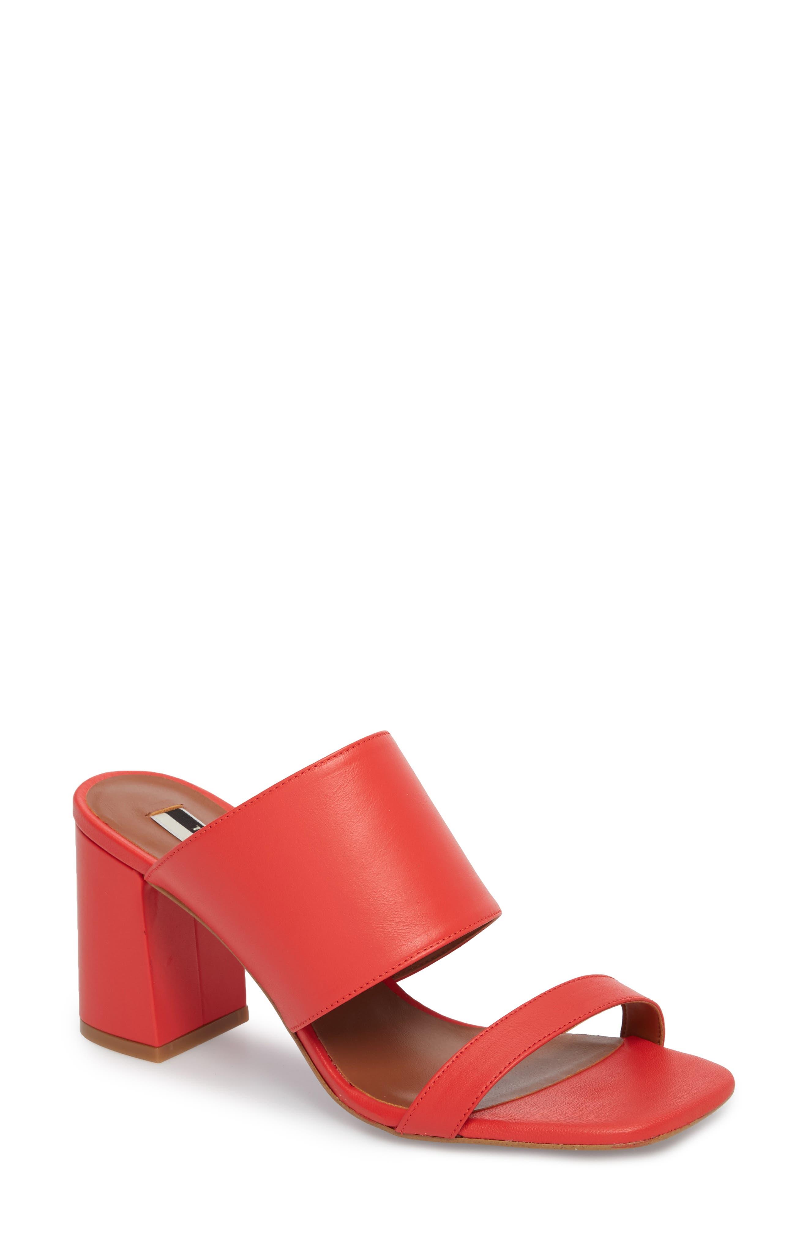 Nickle Mule Sandal,                             Main thumbnail 1, color,                             Red
