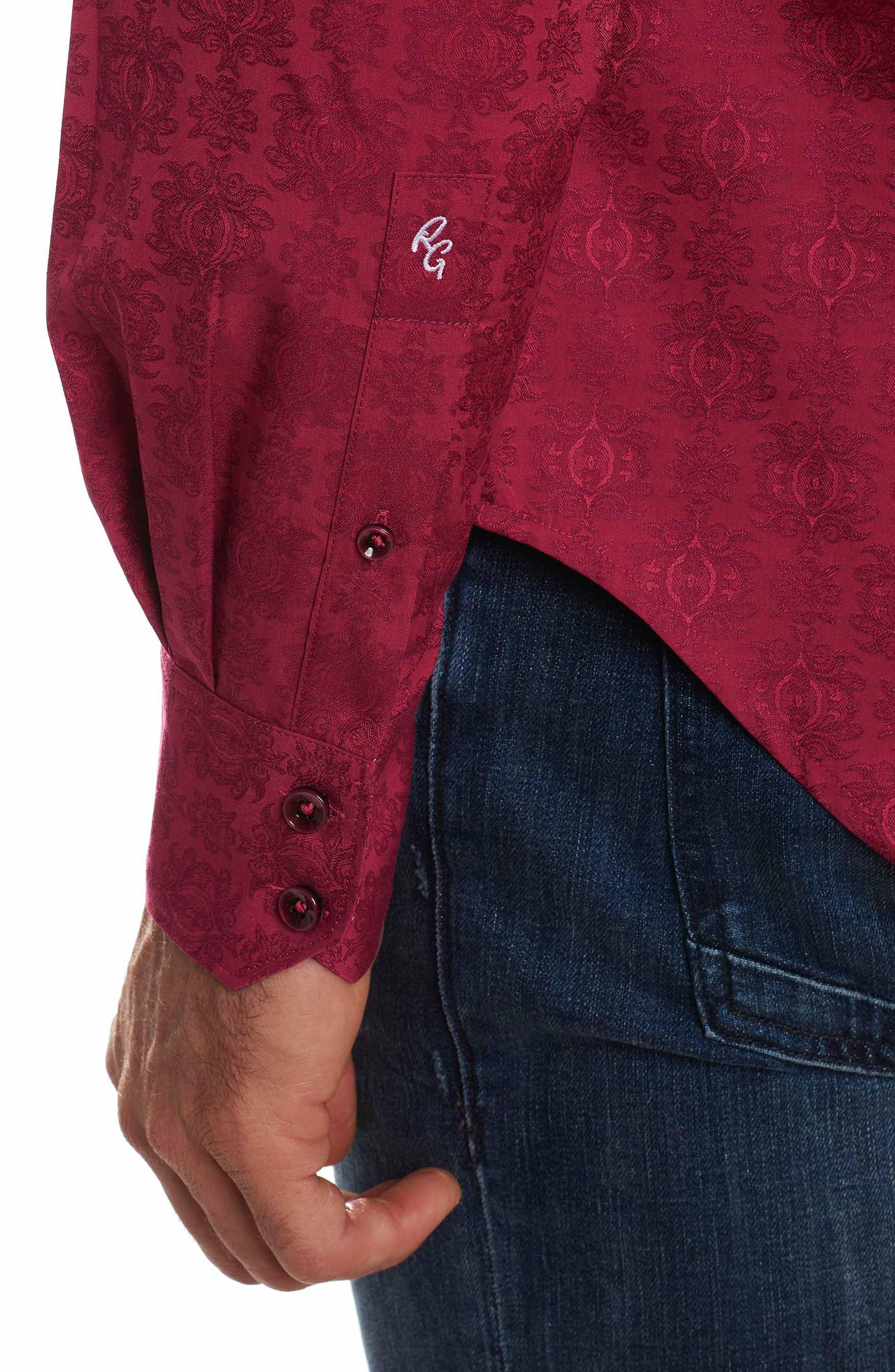 Cullen Classic Fit Jacquard Sport Shirt,                             Alternate thumbnail 6, color,                             Rose