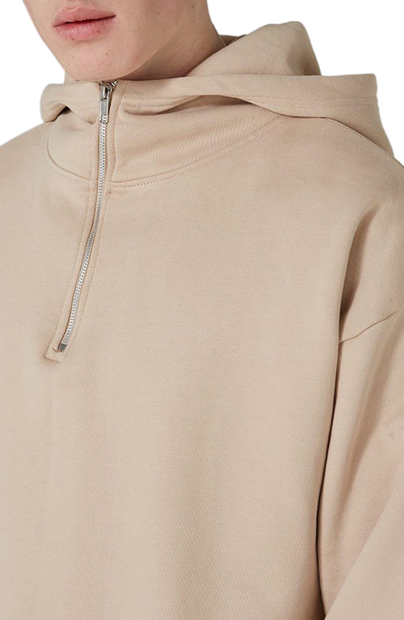Alternate Image 3  - Topman Premium Zip Neck Hoodie