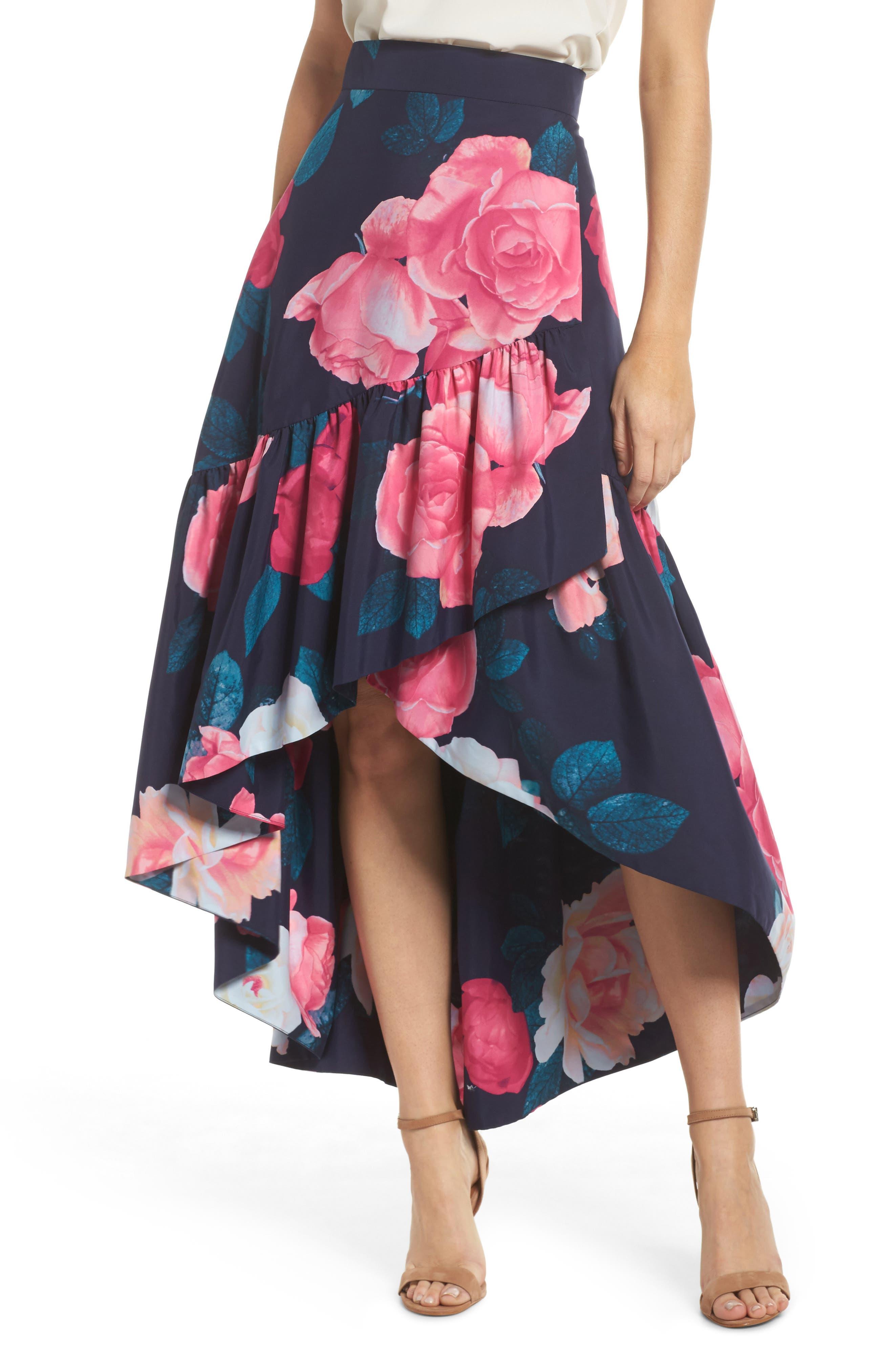 Eliza J Faux Wrap High/Low Taffeta Skirt