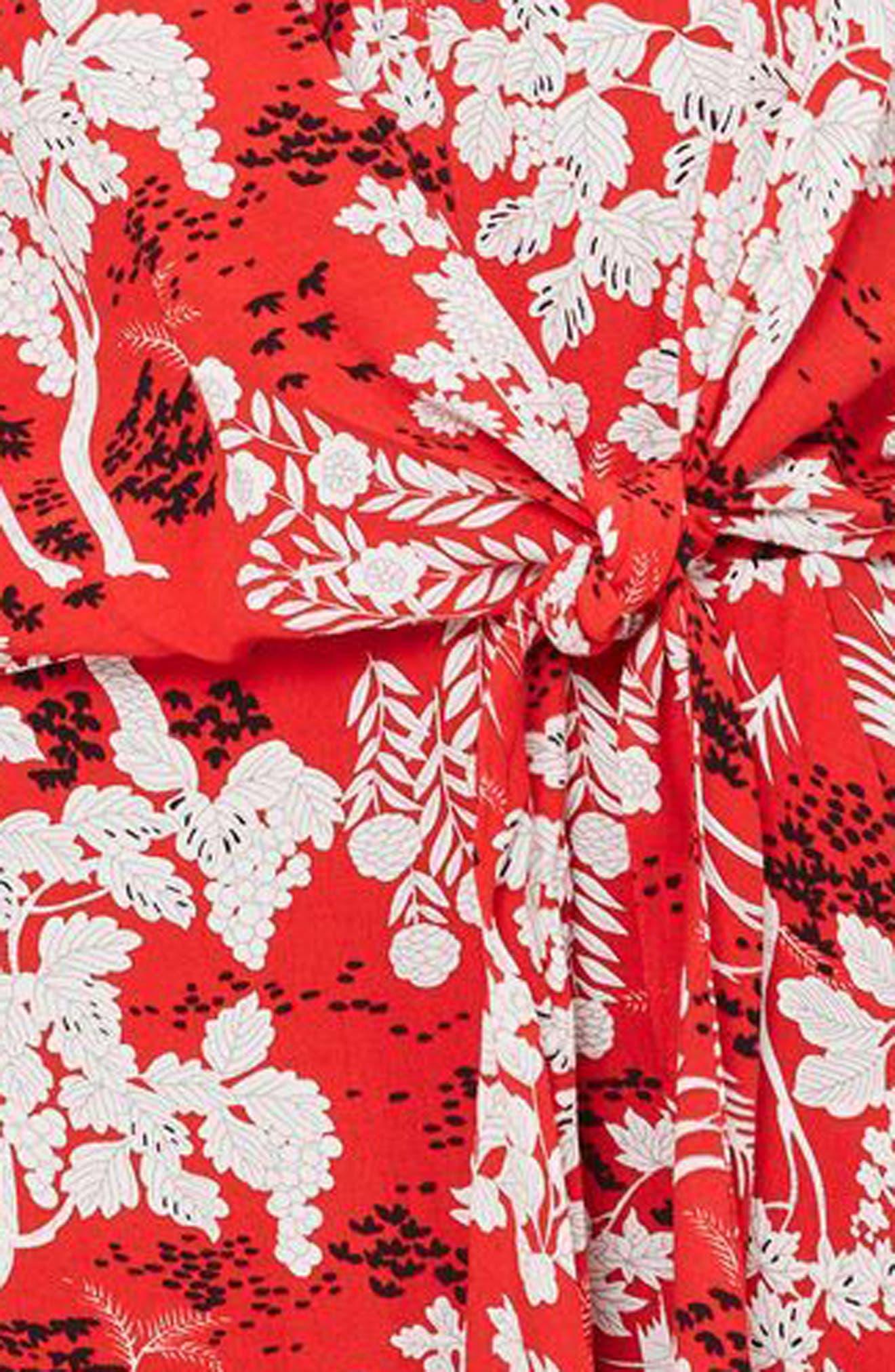 Knotted Midi Dress,                             Alternate thumbnail 3, color,                             Red Multi
