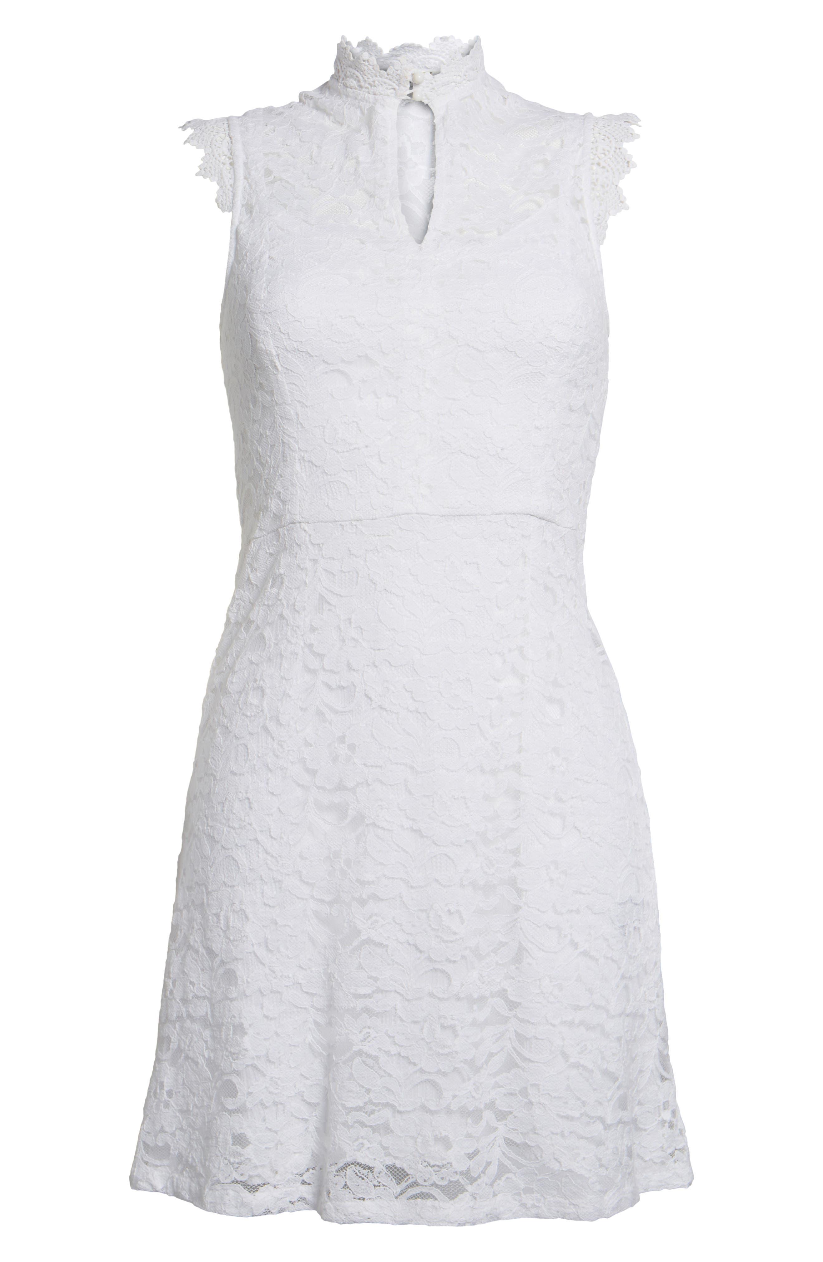 Rapture Lace Keyhole Dress,                             Alternate thumbnail 6, color,                             White