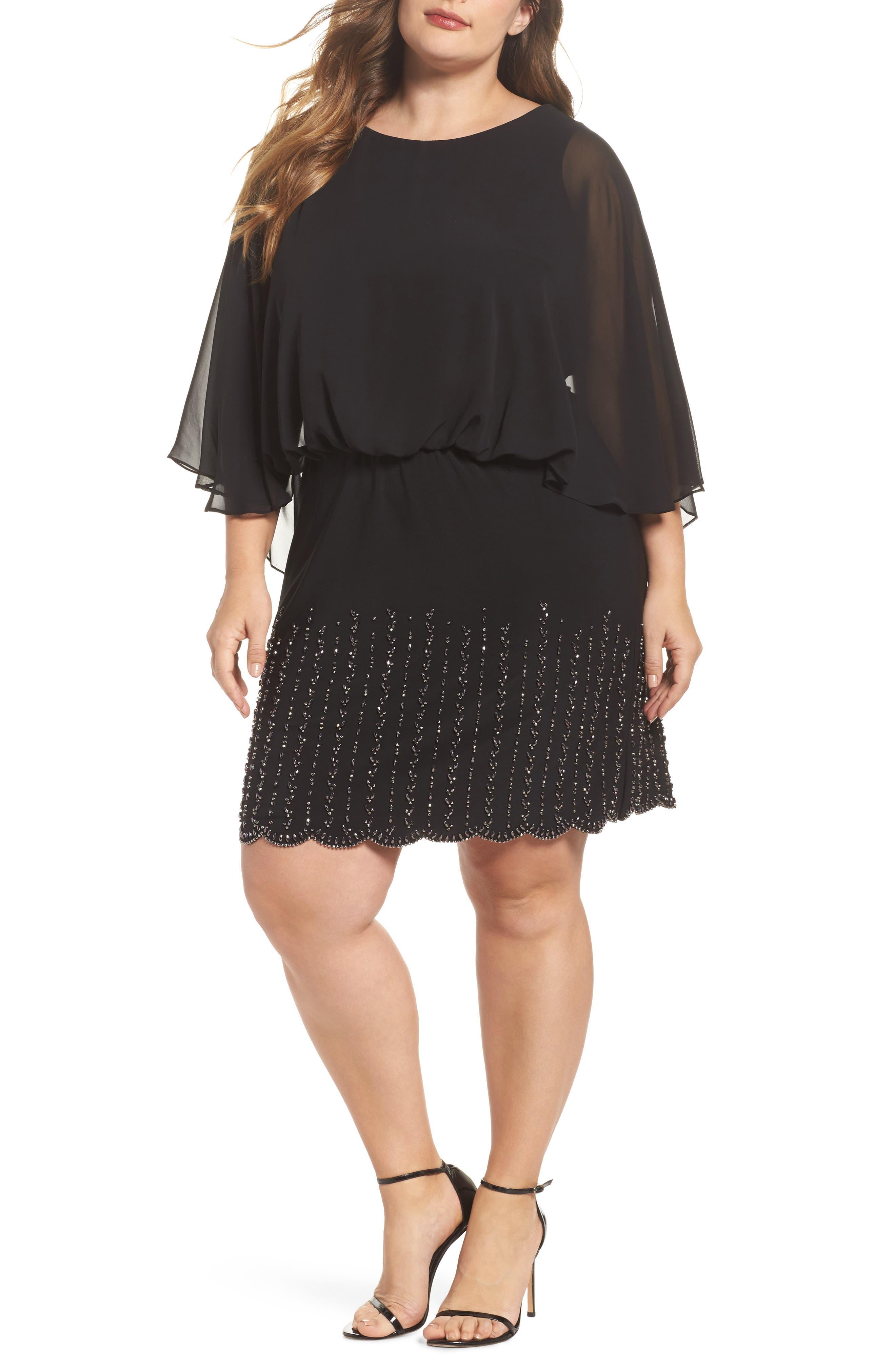 Beaded Overlay Dress,                             Main thumbnail 1, color,                             Black