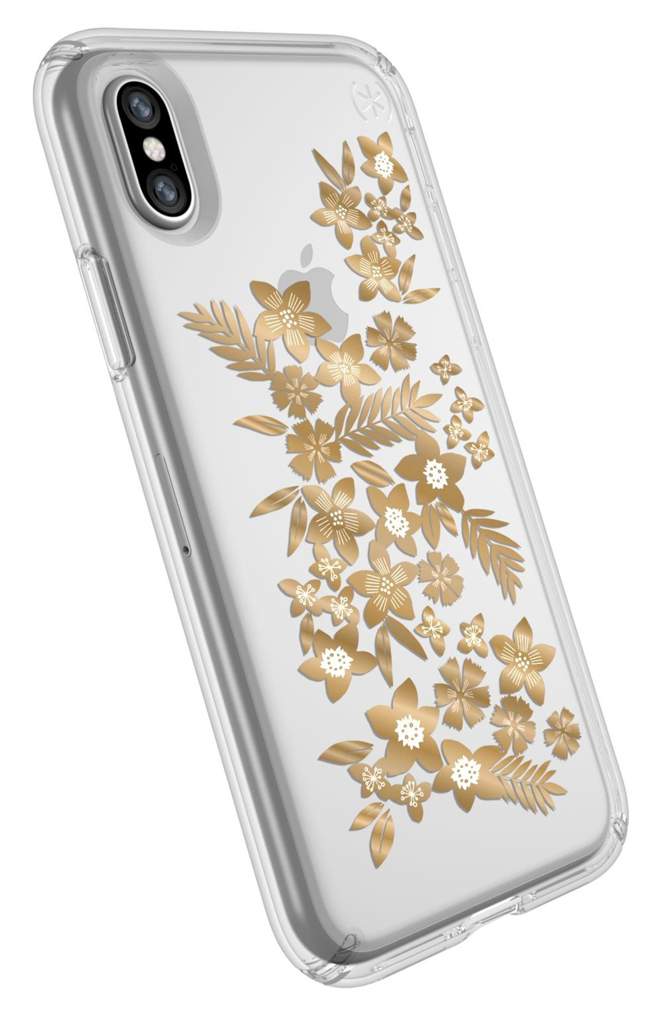 Shimmer Metallic Floral Transparent iPhone X Case,                             Alternate thumbnail 4, color,                             Shimmer Floral Metallic/ Clear