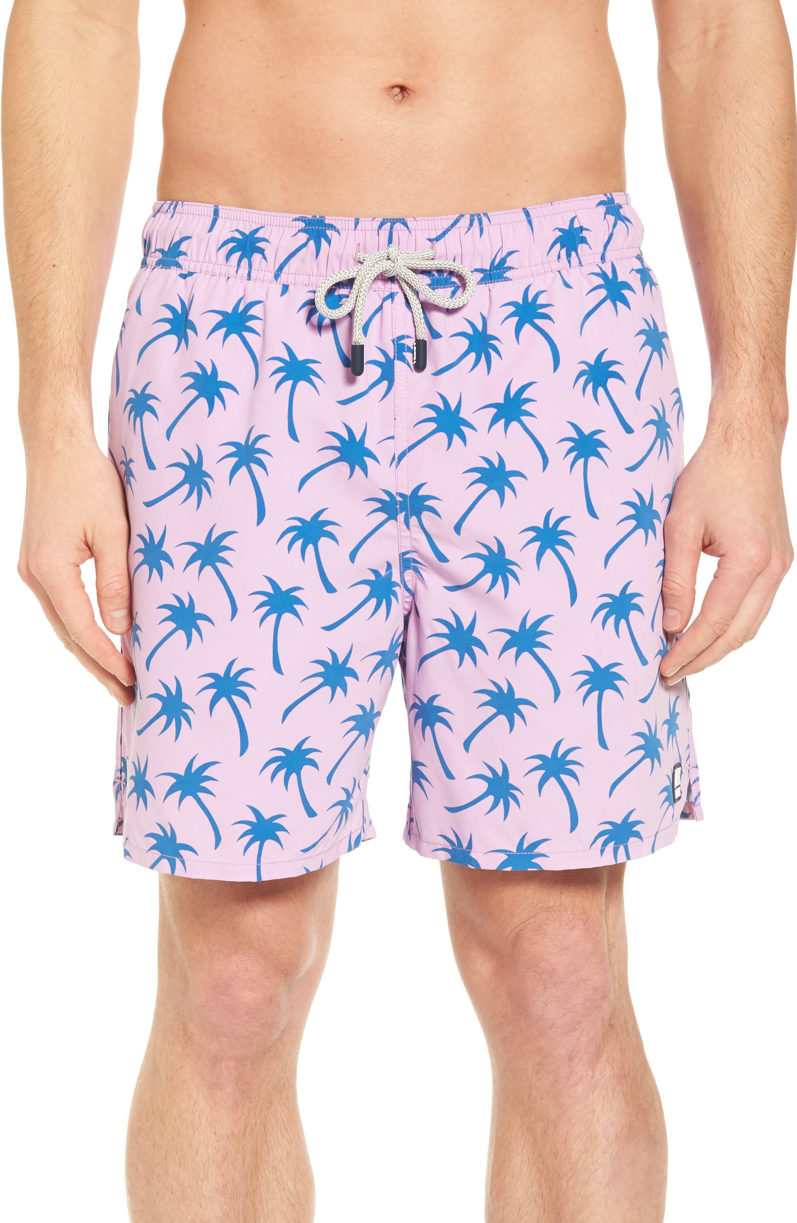 Palm Print Swim Trunks,                         Main,                         color, Lavender / Blue
