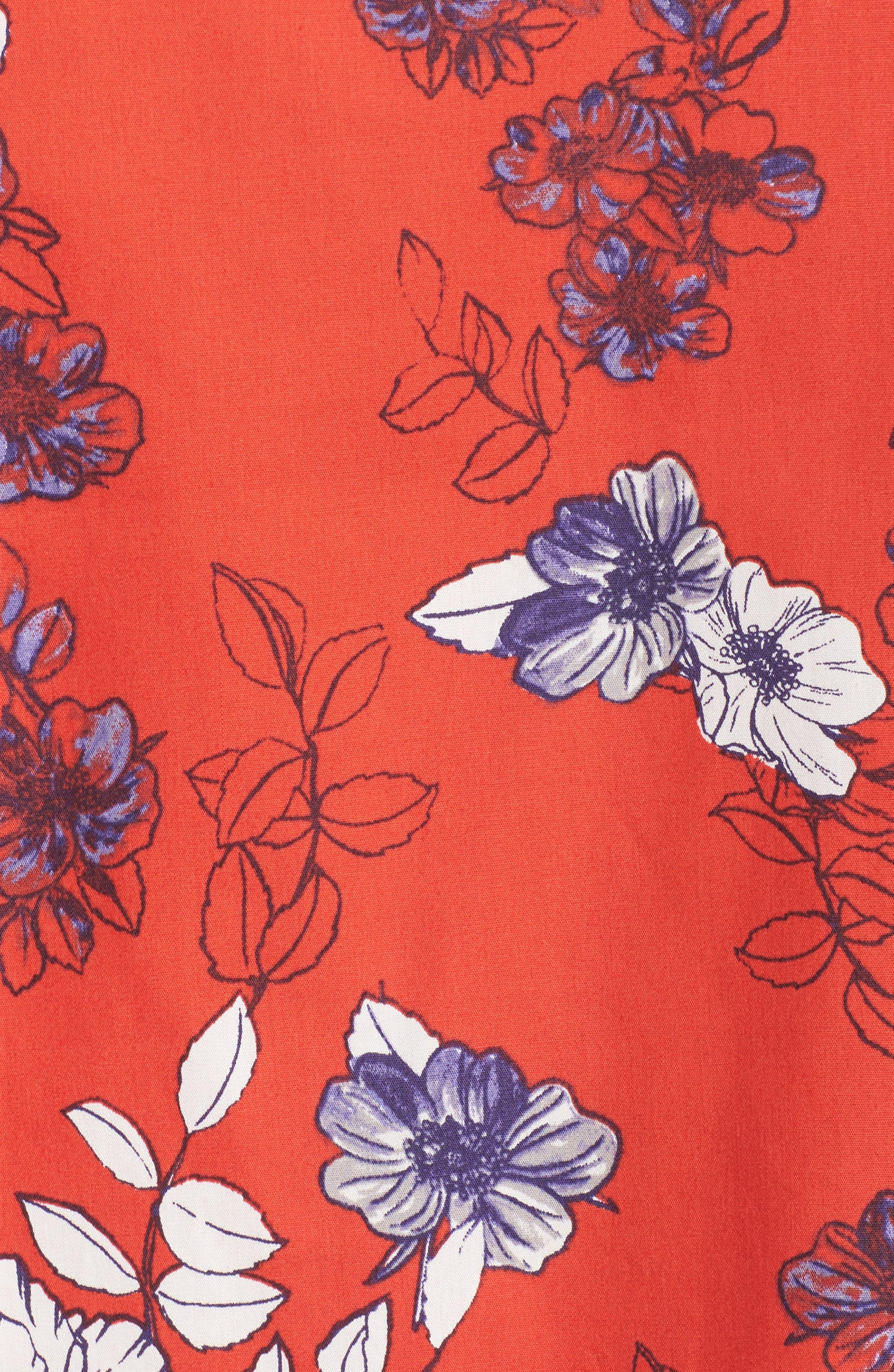 Print Sateen Cold Shoulder Shift Dress,                             Alternate thumbnail 5, color,                             Red/ Blue