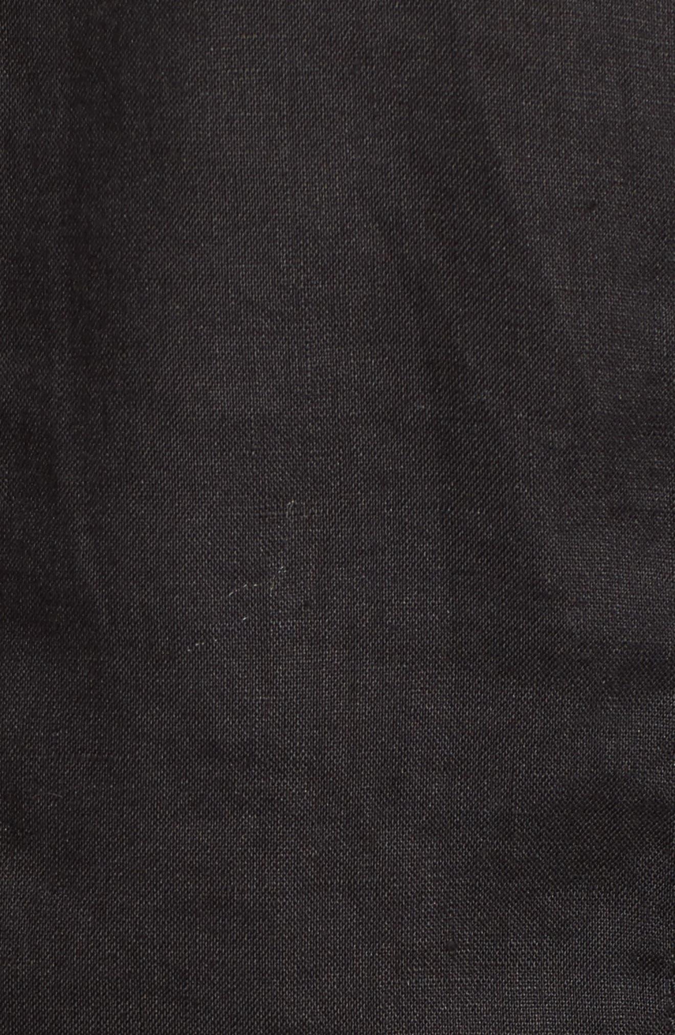 Crop Organic Linen Jacket,                             Alternate thumbnail 5, color,                             Black