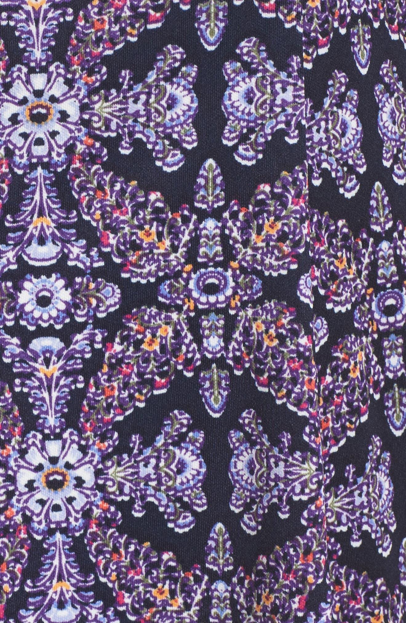 Scuba Fit & Flare Dress,                             Alternate thumbnail 5, color,                             Navy/ Lavender