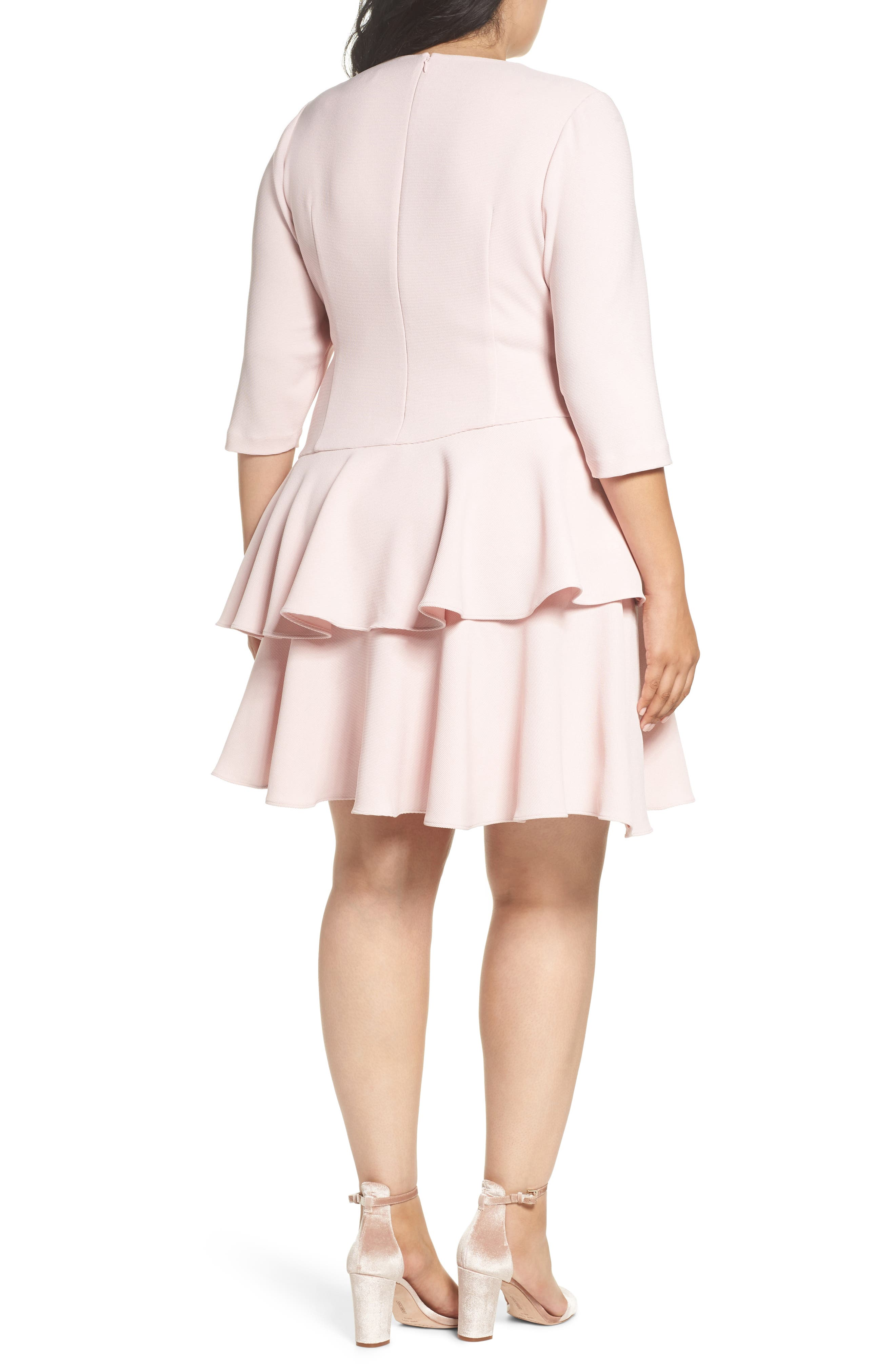 Tiered Ruffle A-Line Dress,                             Alternate thumbnail 2, color,                             Blush