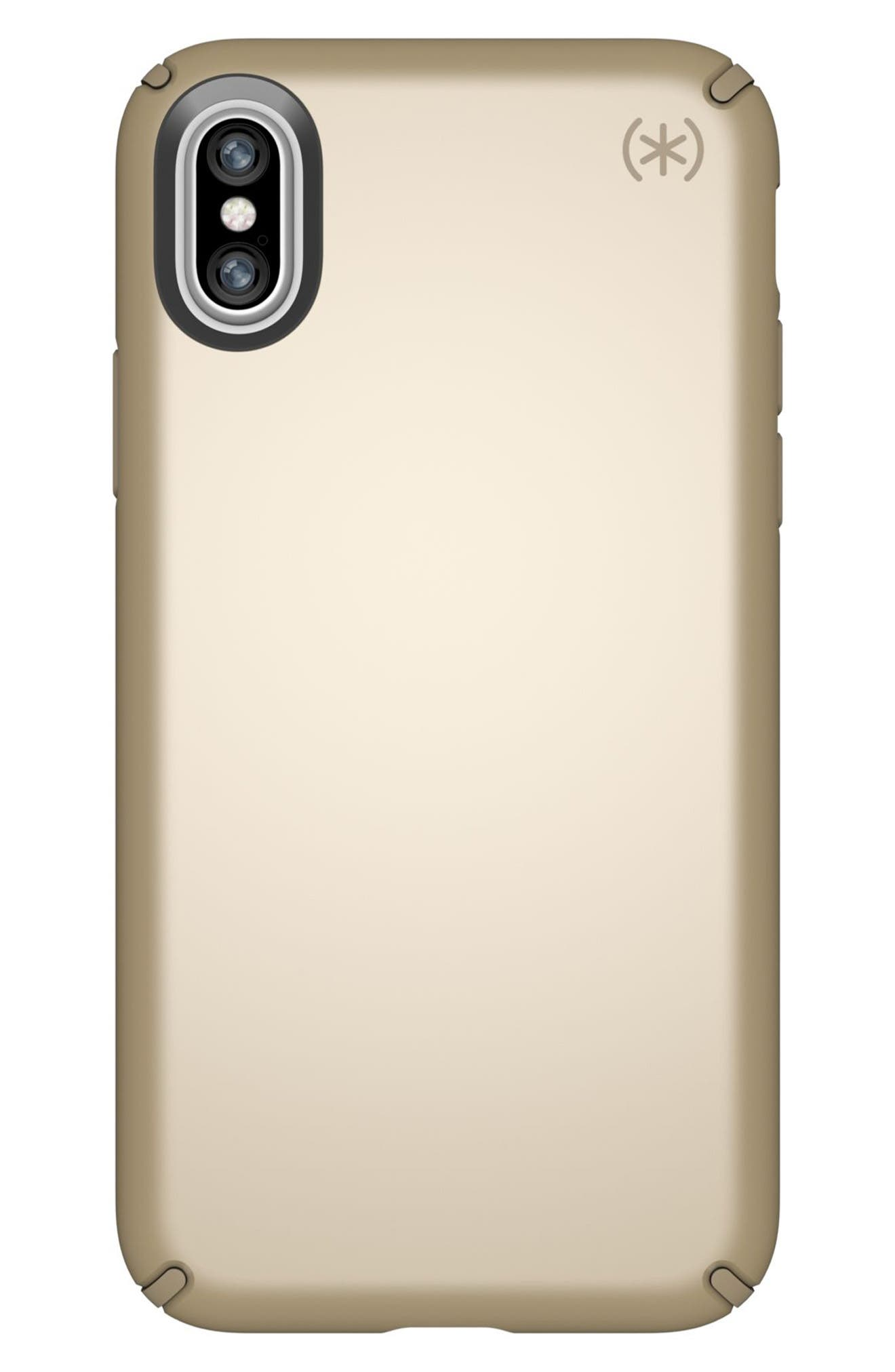 iPhone X Case,                             Main thumbnail 1, color,                             Pale Yellow Gold/ Brown