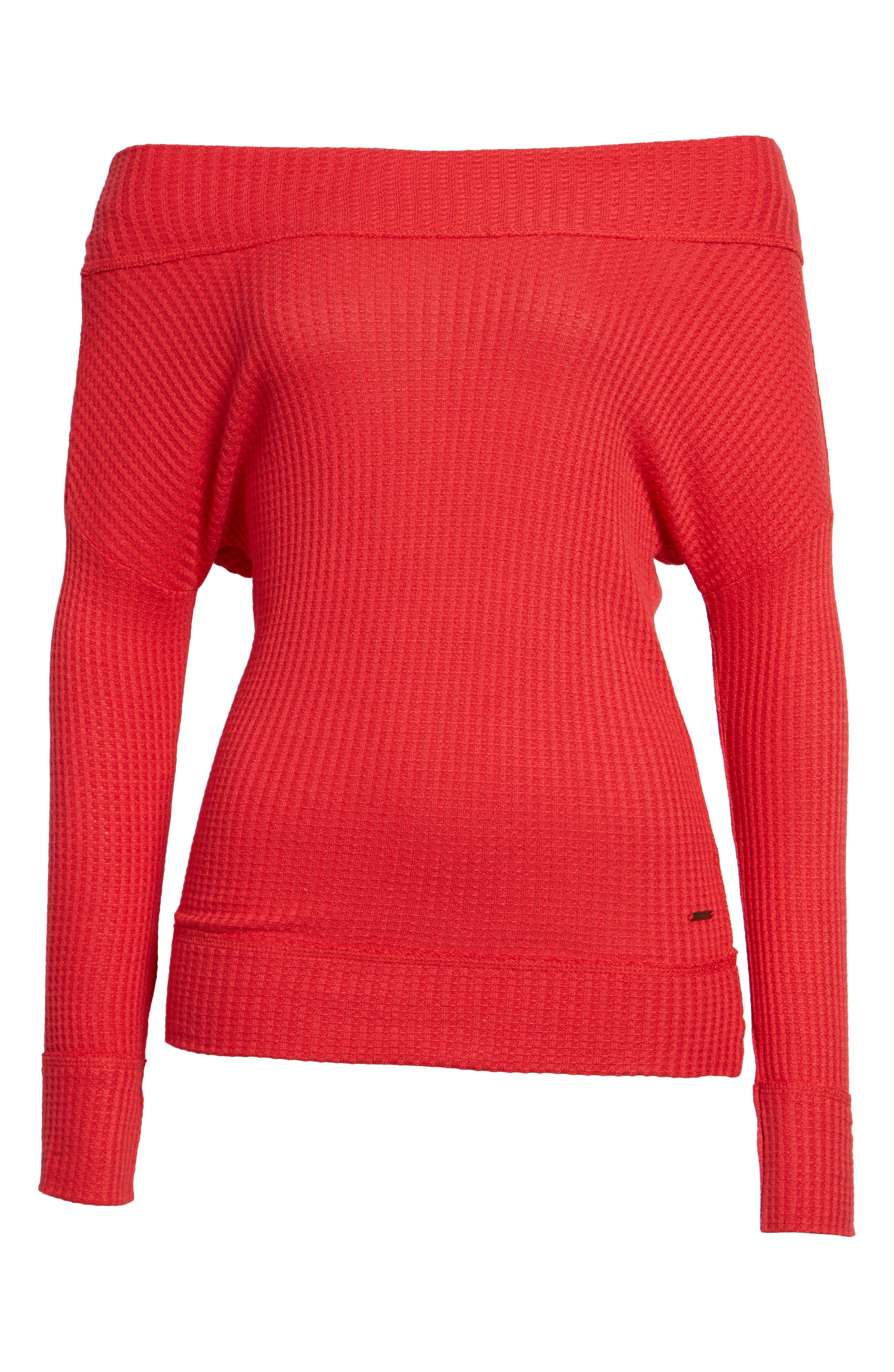 Off the Shoulder Thermal Knit Top,                             Main thumbnail 1, color,                             Red