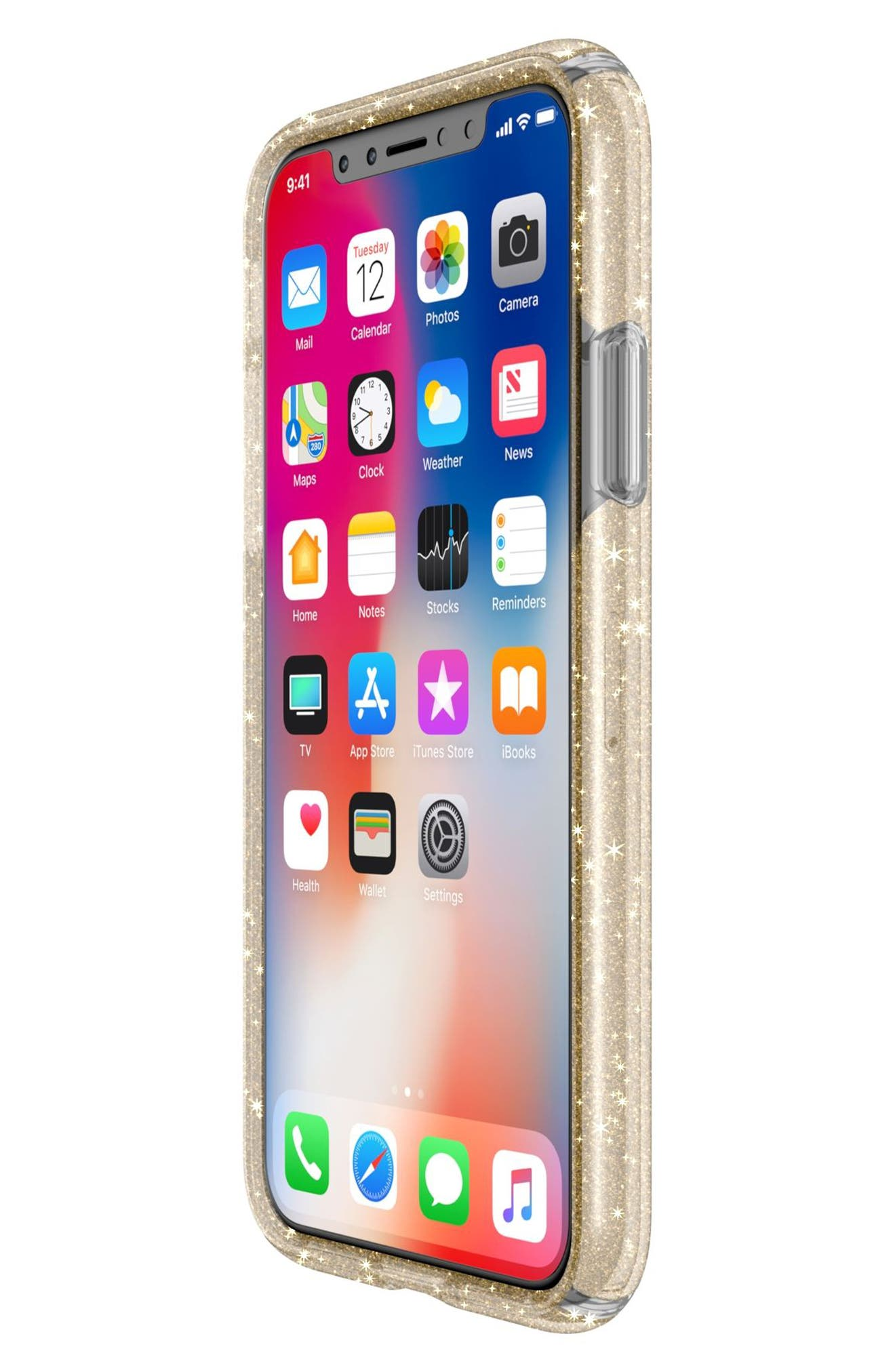 Transparent iPhone X Case,                             Alternate thumbnail 7, color,                             Clear With Gold Glitter/ Clear