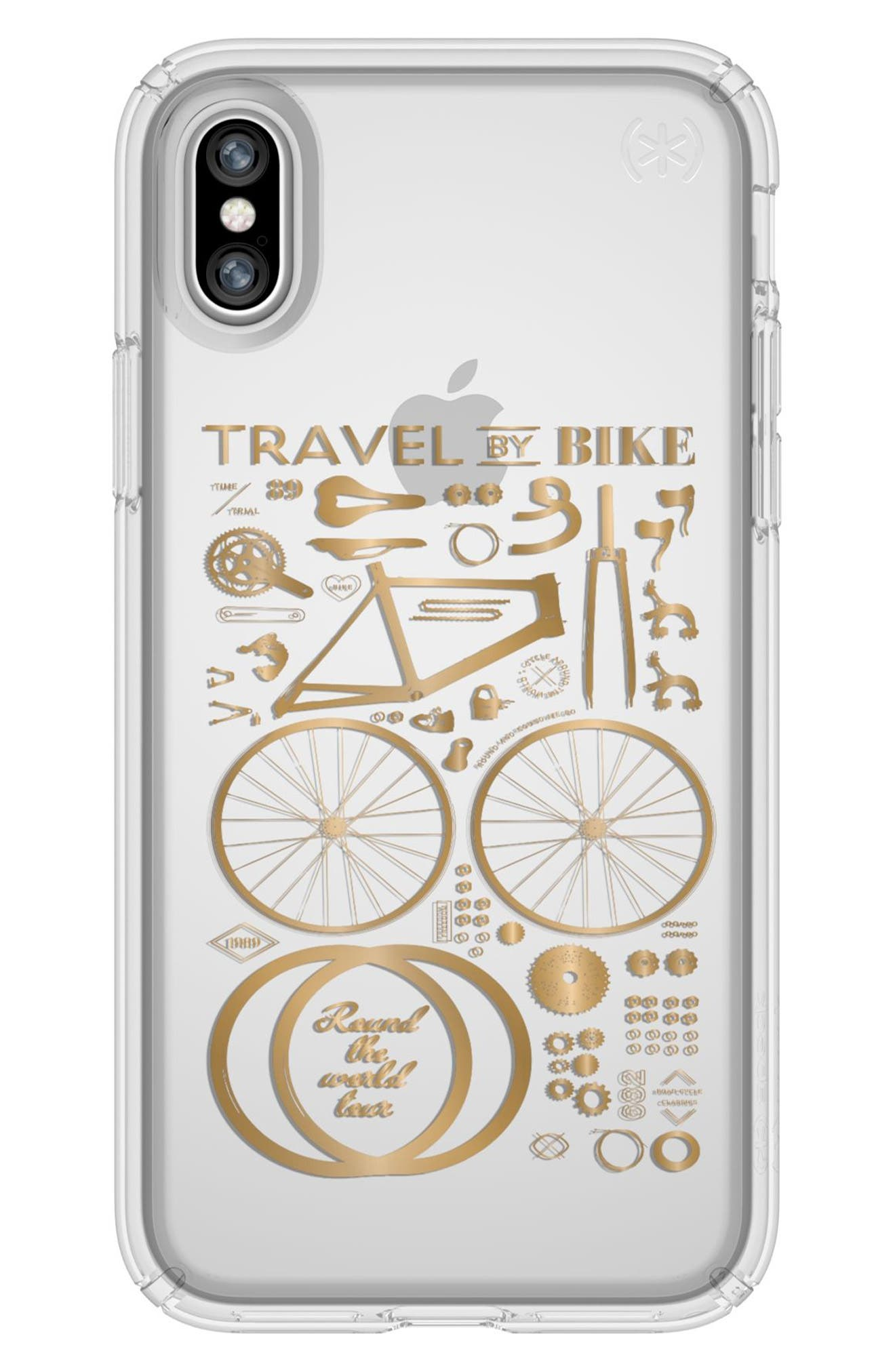 Metallic City Bike Transparent iPhone X Case,                             Main thumbnail 1, color,                             City Bike Metallic Gold/ Clear