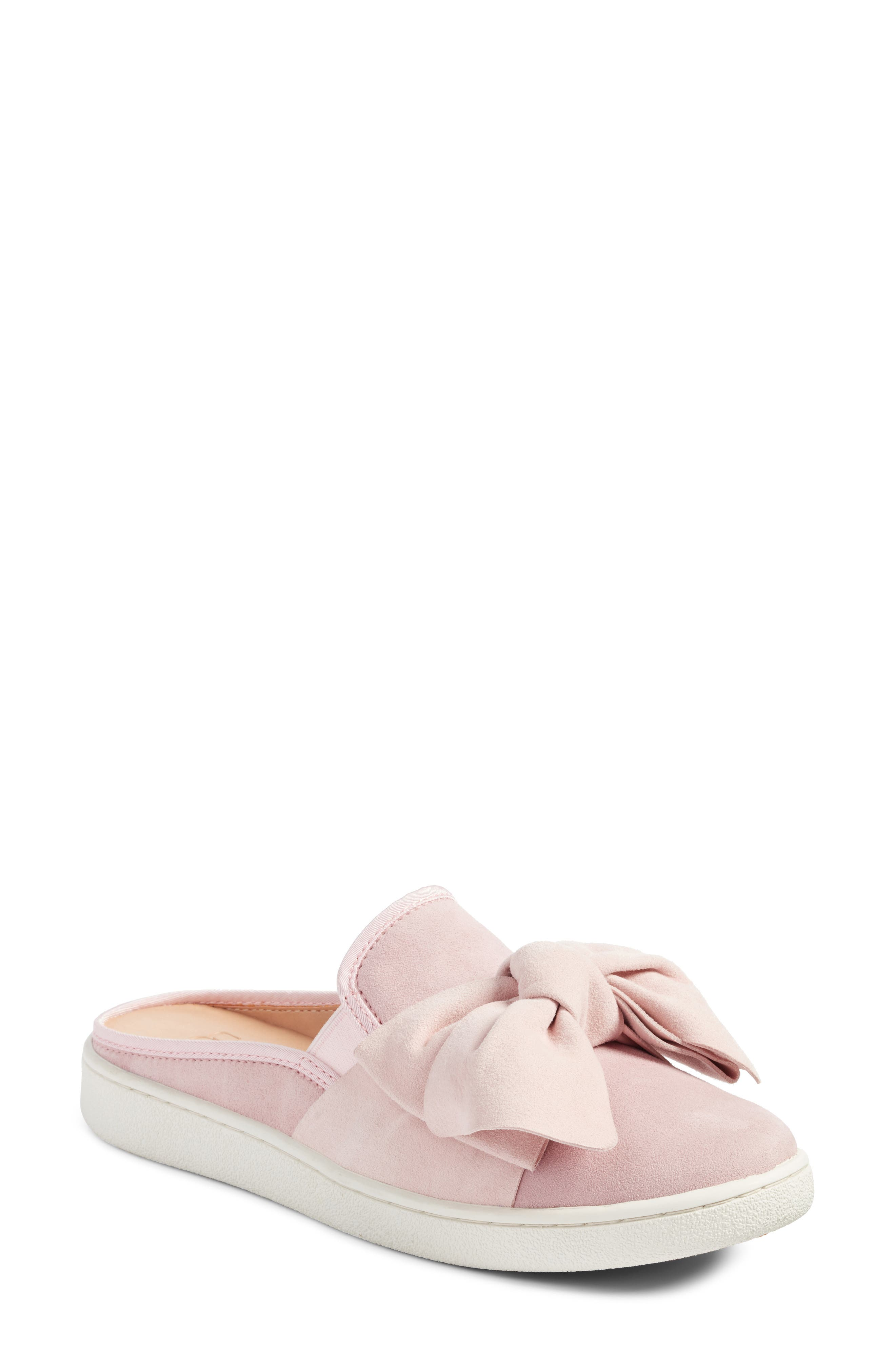 Luci Bow Sneaker Mule,                             Main thumbnail 1, color,                             Seashell Pink Suede