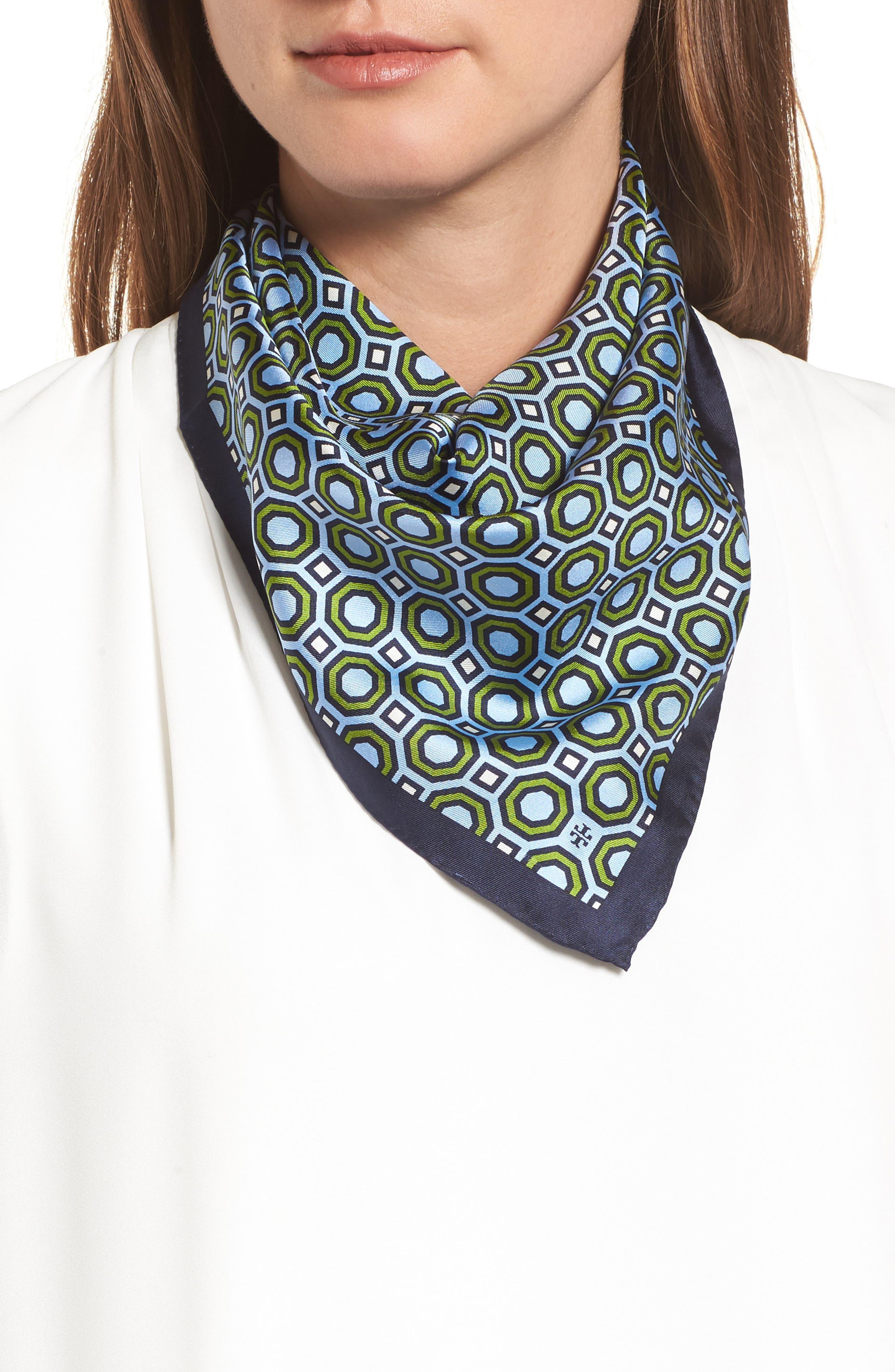 Octagon Print Silk Neckerchief,                         Main,                         color, Blue