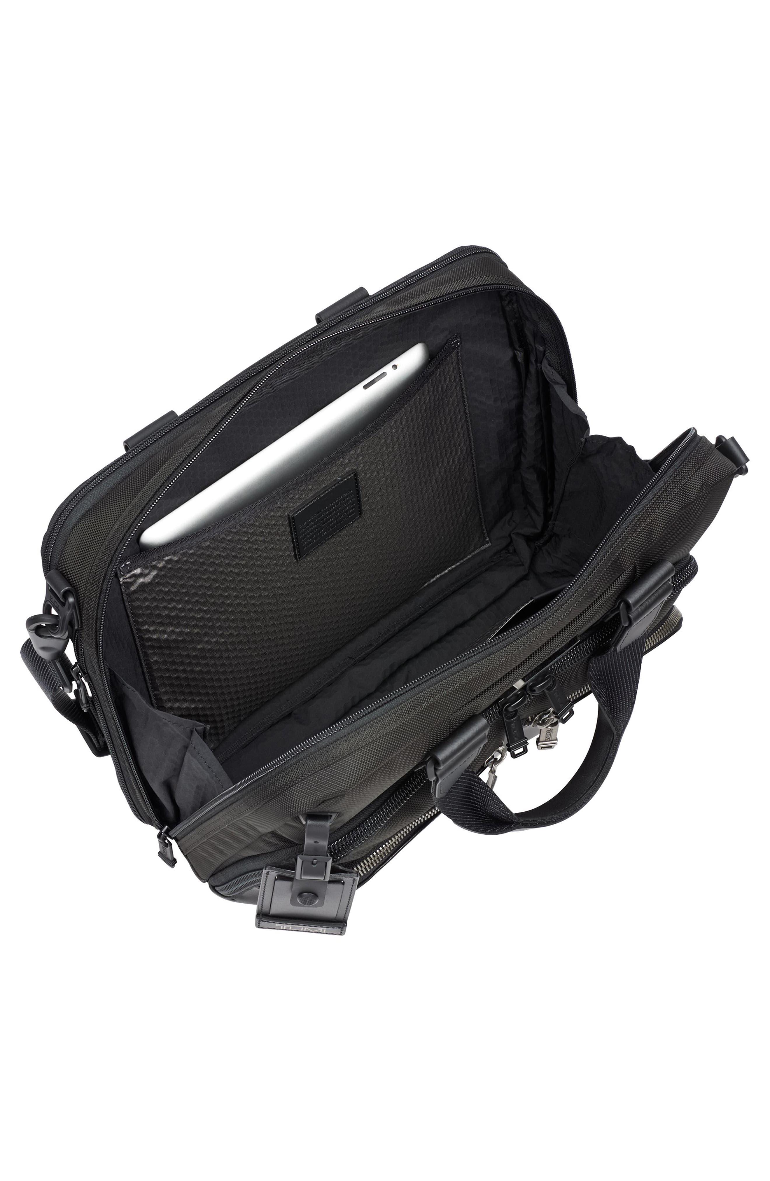Alpha Bravo - Albany Slim Commuter Briefcase,                             Alternate thumbnail 3, color,                             Black