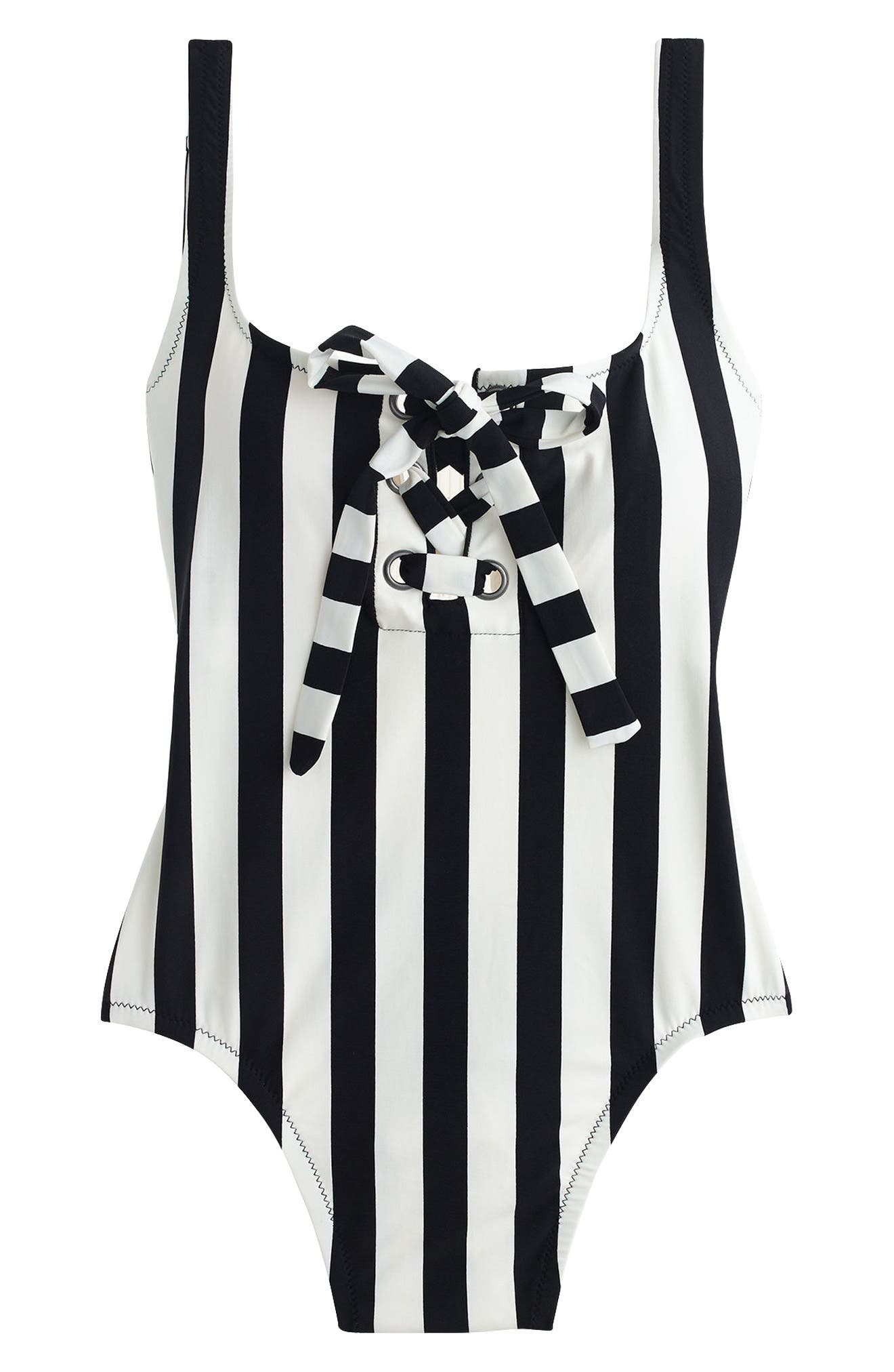 J.Crew Stripe Lace-Up One-Piece Swimsuit,                             Alternate thumbnail 3, color,                             Ivory Black