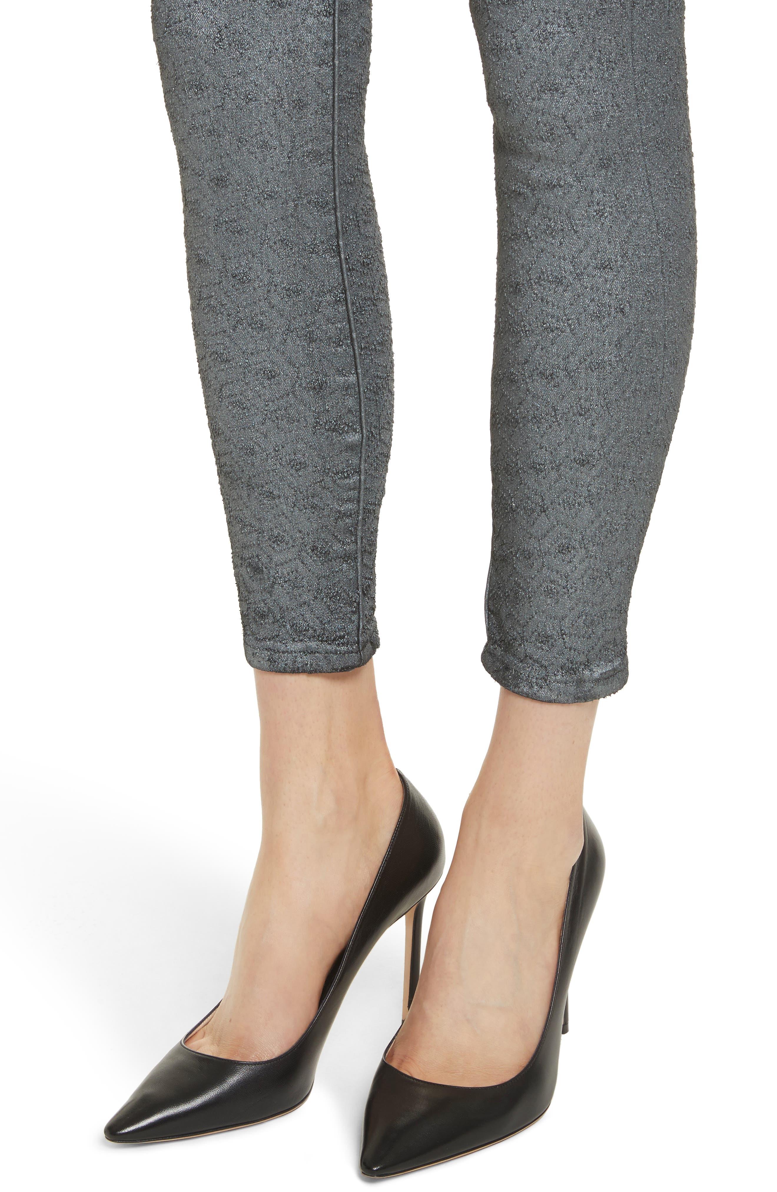 Reina Glitter Skinny Jeans,                             Alternate thumbnail 4, color,                             Black Used Glitter Silver