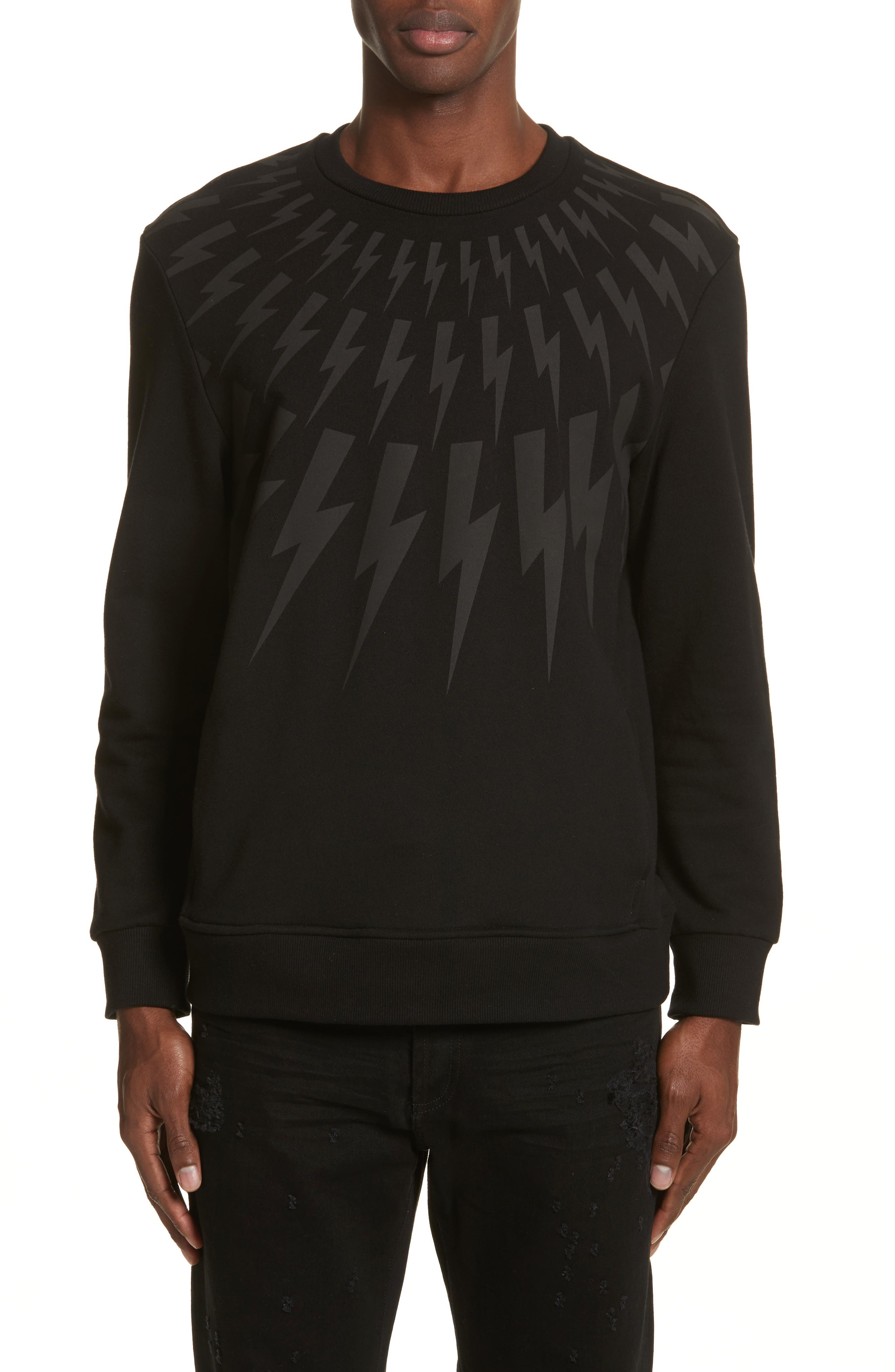 Neil Barrett Fair Isle Lightning Bolt Print Sweatshirt